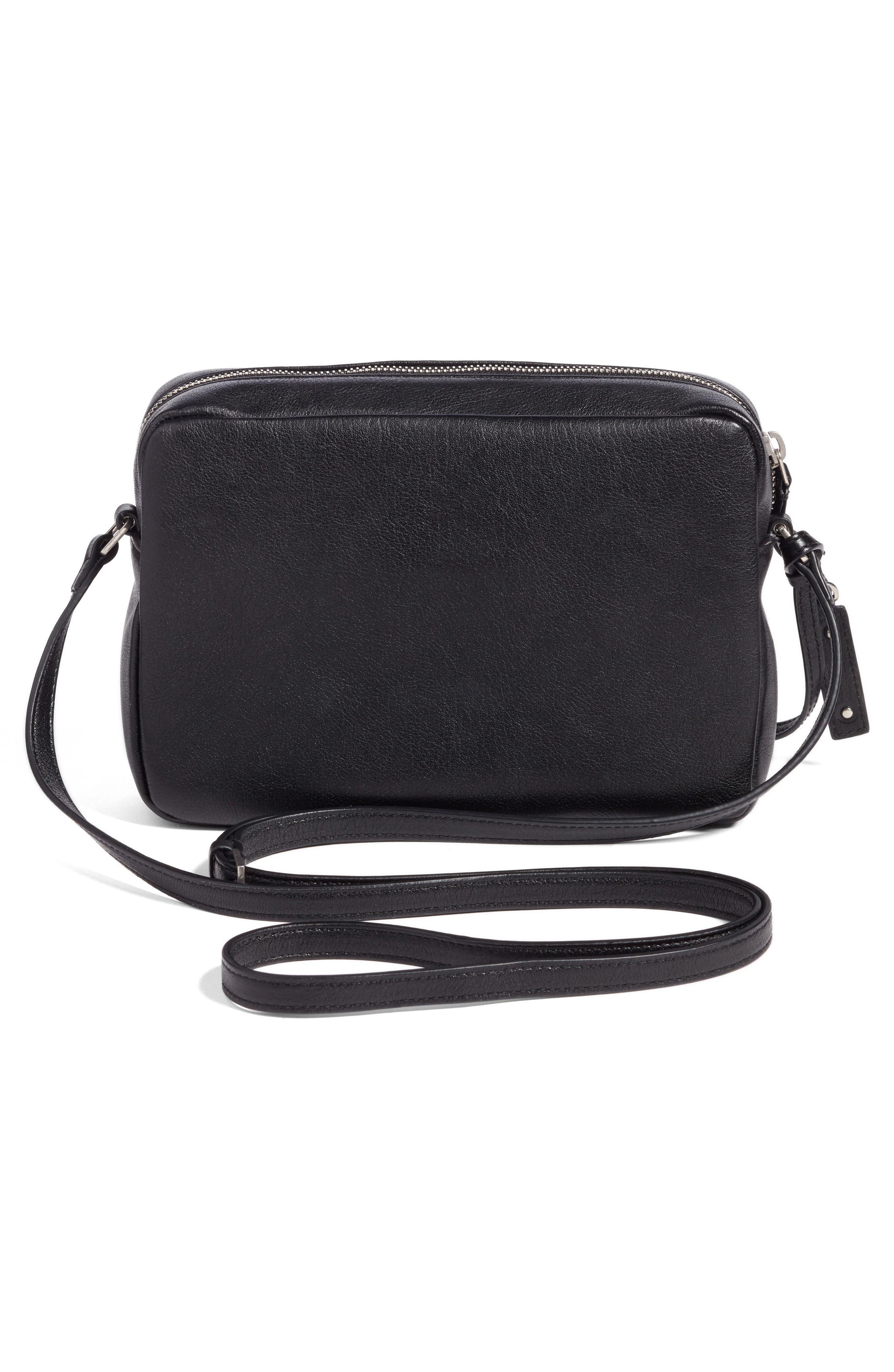 SAINT LAURENT, Small Mono Leather Camera Bag, Alternate thumbnail 3, color, NOIR
