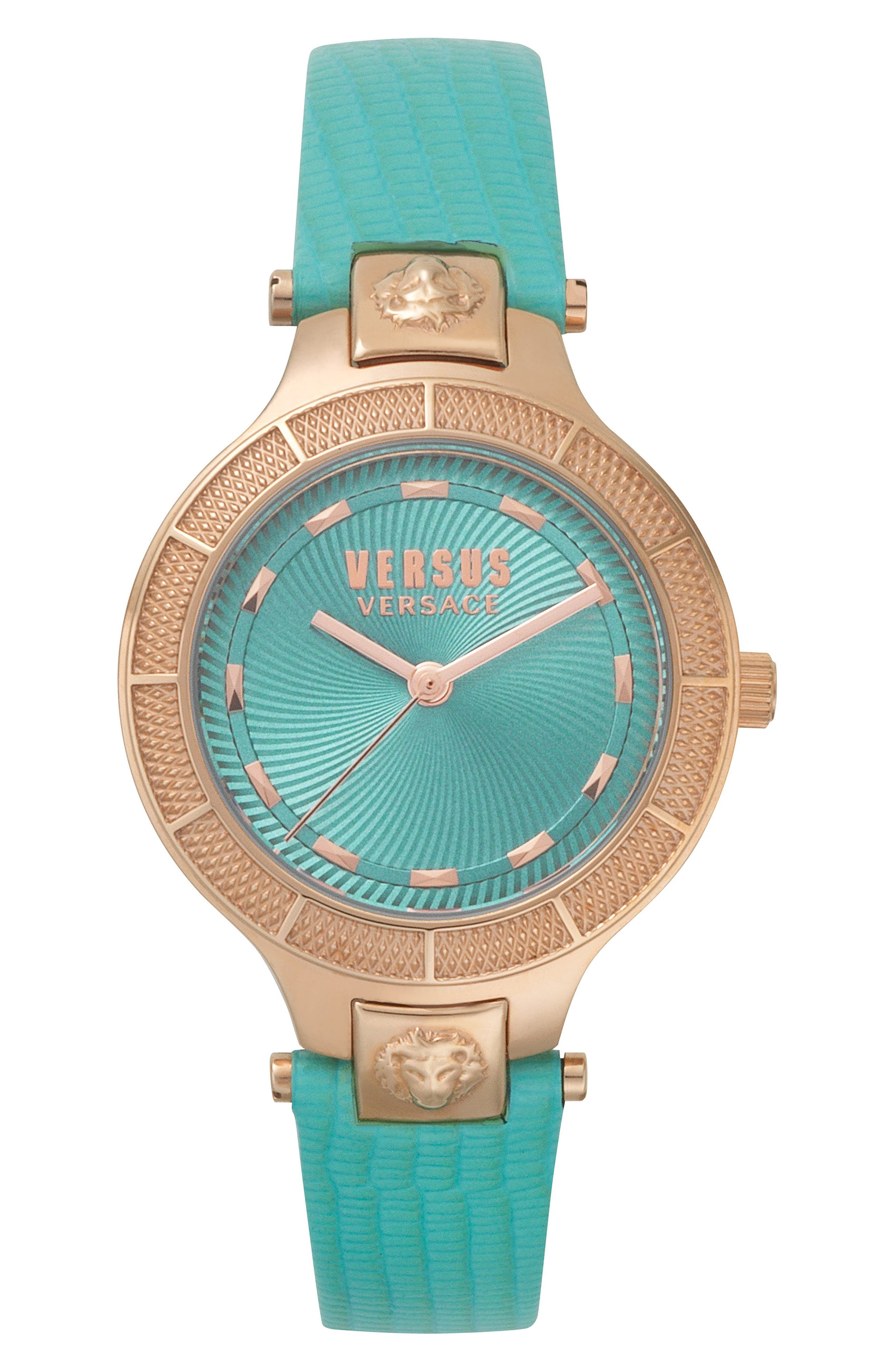 VERSUS VERSACE, Claremont Leather Strap Watch, 32mm, Main thumbnail 1, color, GREEN/ ROSE GOLD
