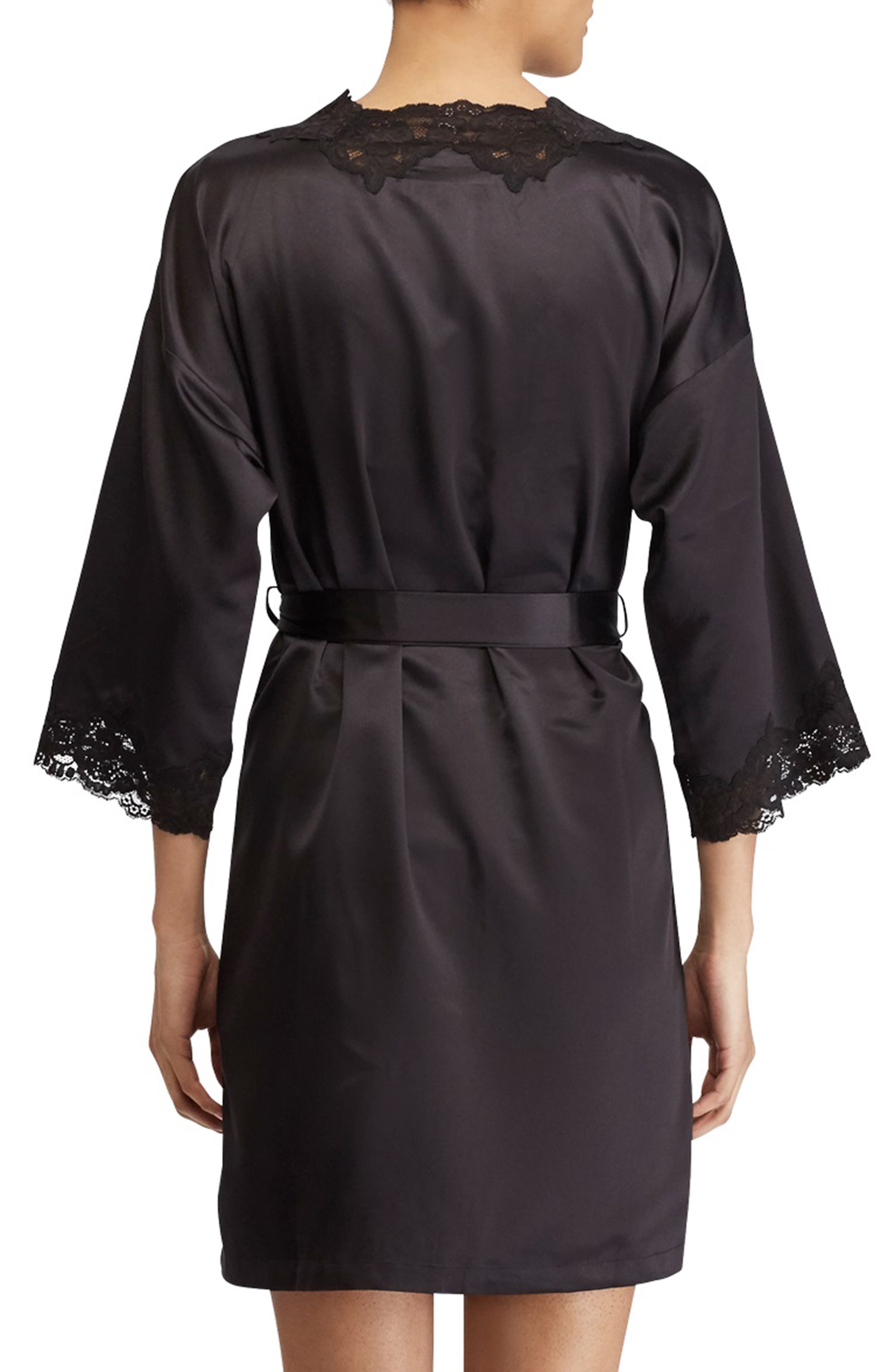 LAUREN RALPH LAUREN, Lace Trim Satin Robe, Alternate thumbnail 2, color, BLACK