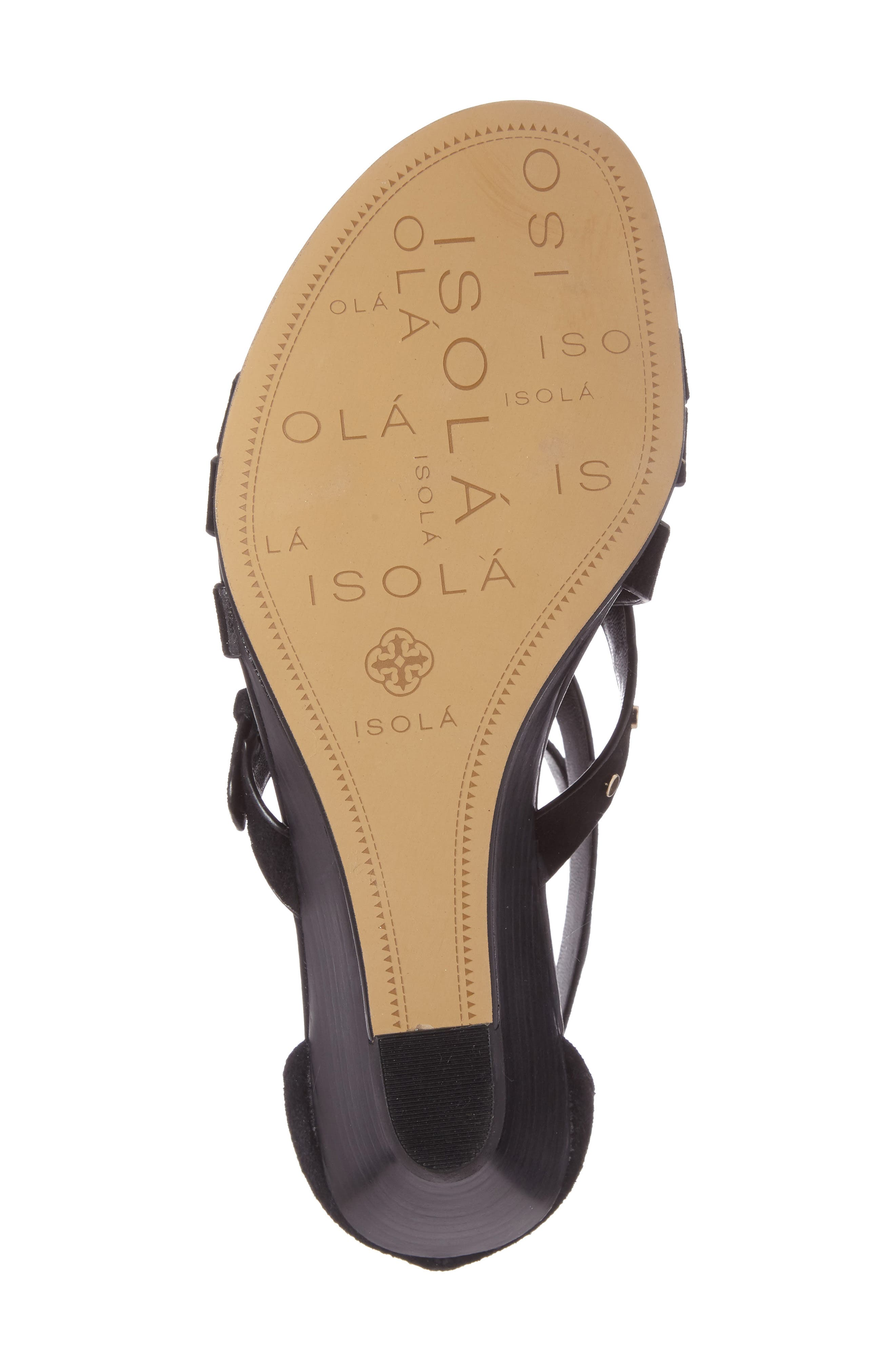 ISOLÁ, Petra Strappy Wedge Sandal, Alternate thumbnail 4, color, BLACK LEATHER
