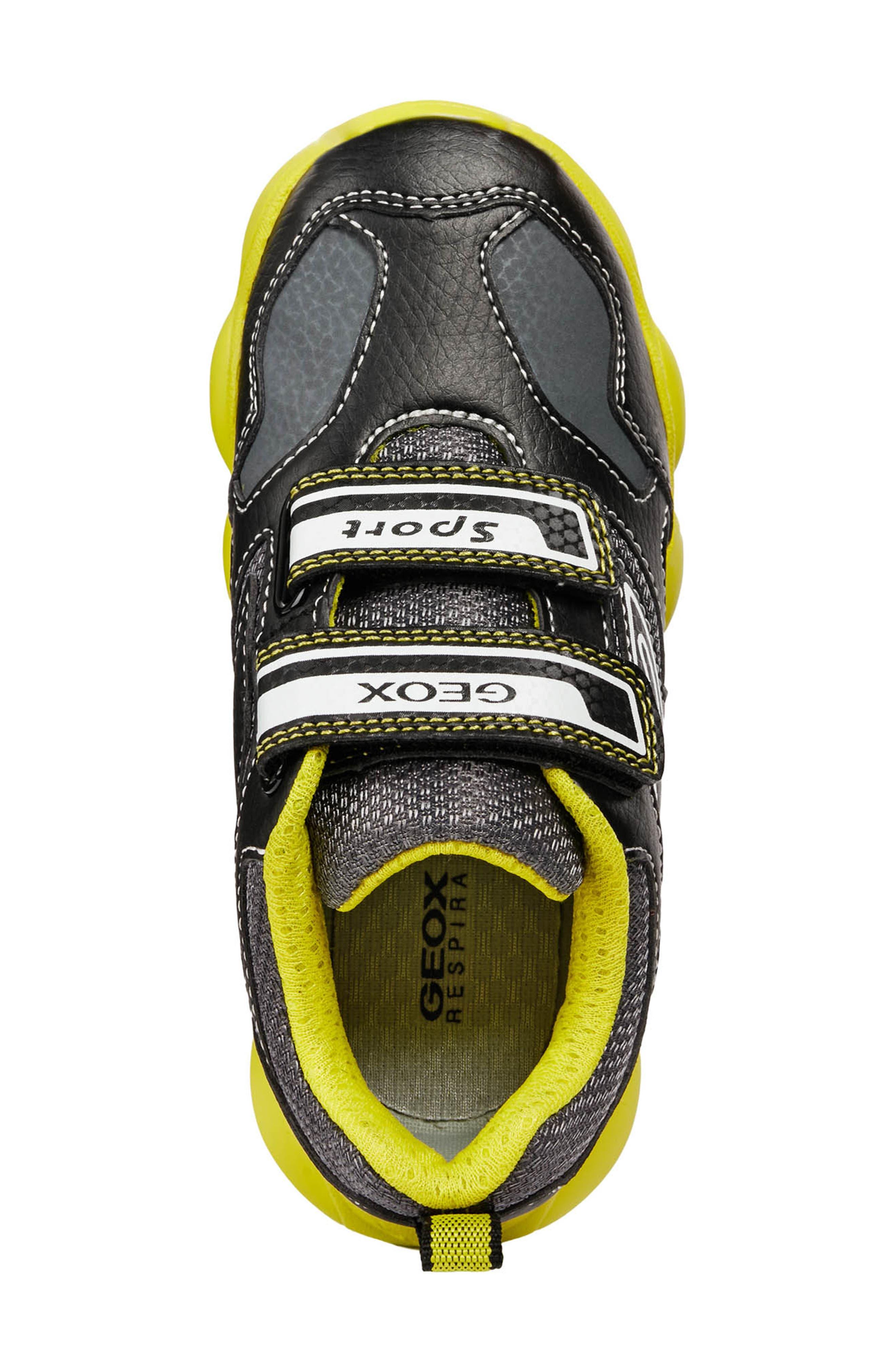 GEOX, Munfrey Waterproof Sneaker, Alternate thumbnail 5, color, BLACK/ LIME
