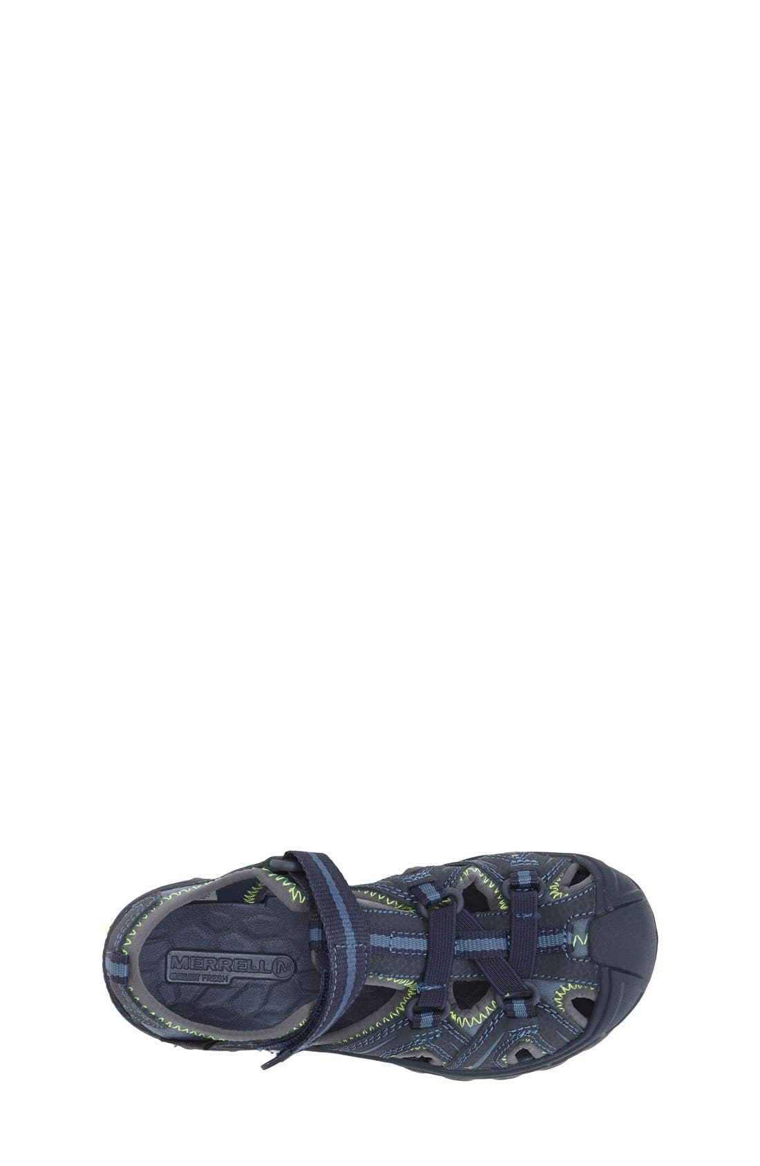 MERRELL, Hydro Water Sandal, Alternate thumbnail 3, color, NAVY/ GREEN