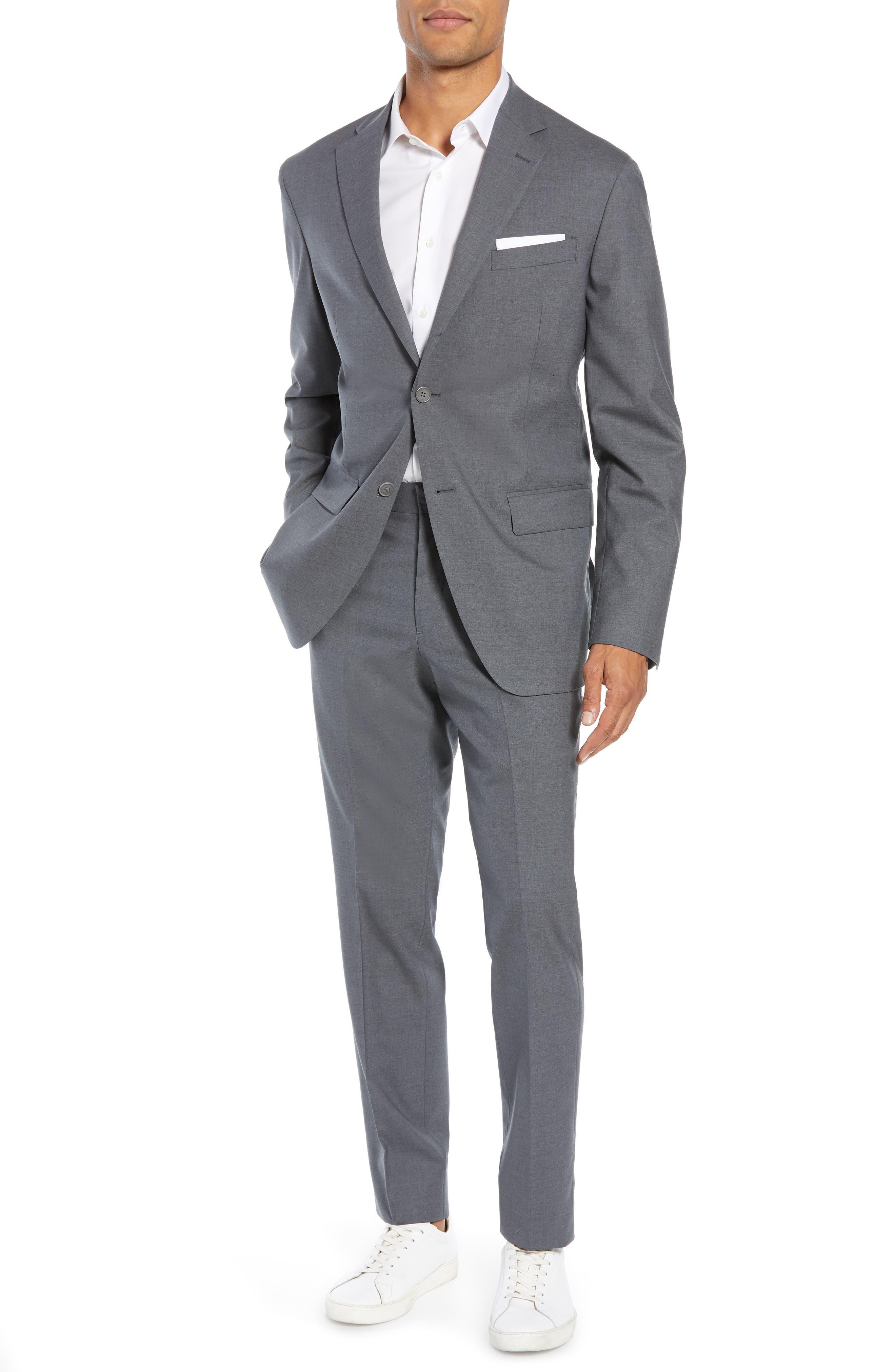 NORDSTROM MEN'S SHOP, Tech-Smart Trim Fit Stretch Wool Travel Sport Coat, Alternate thumbnail 7, color, GREY