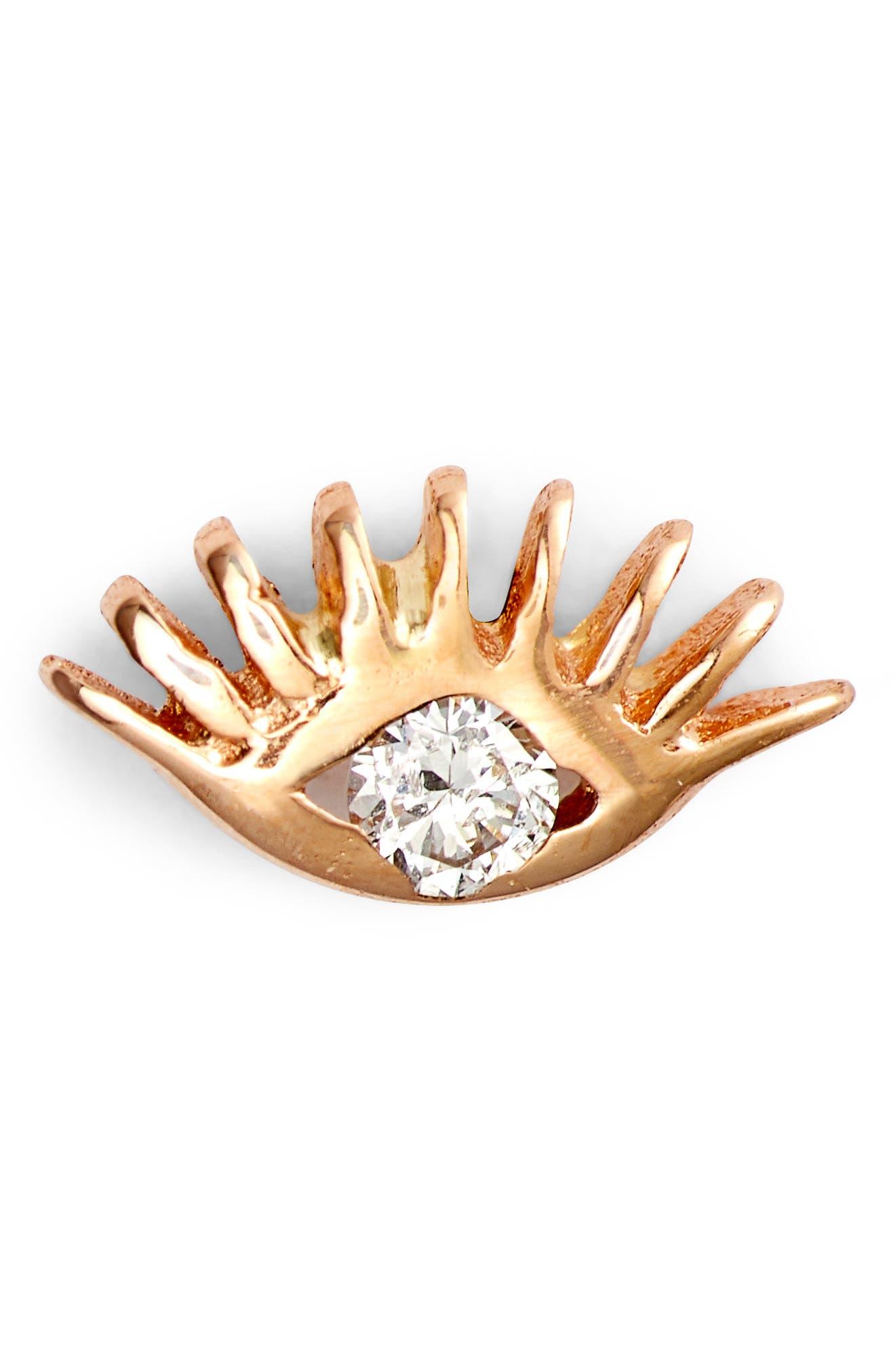 KISMET BY MILKA Evil Eye Diamond Stud, Main, color, ROSE GOLD/ DIAMOND