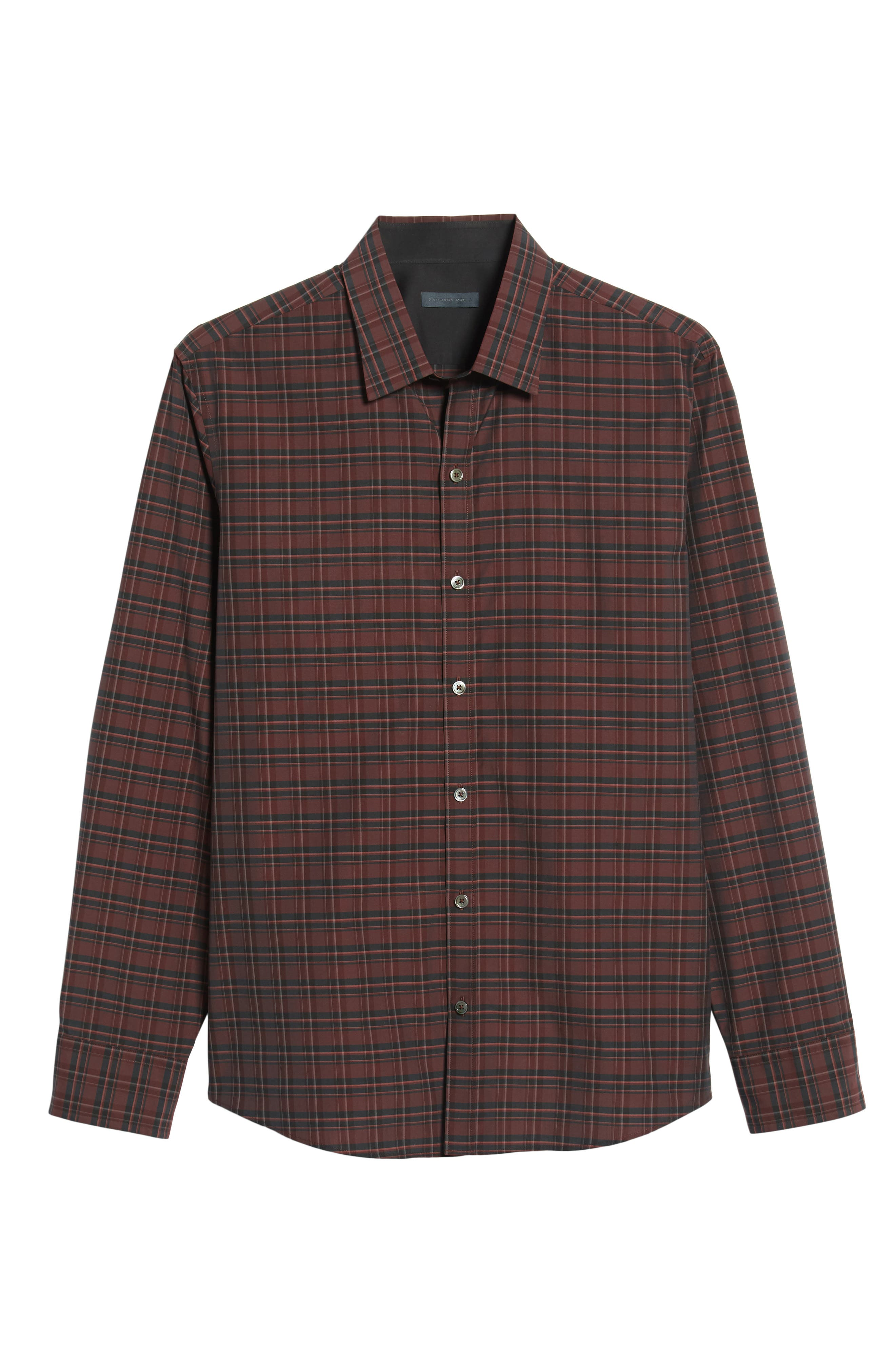 ZACHARY PRELL, Sunny Regular Fit Sport Shirt, Alternate thumbnail 5, color, RUBY