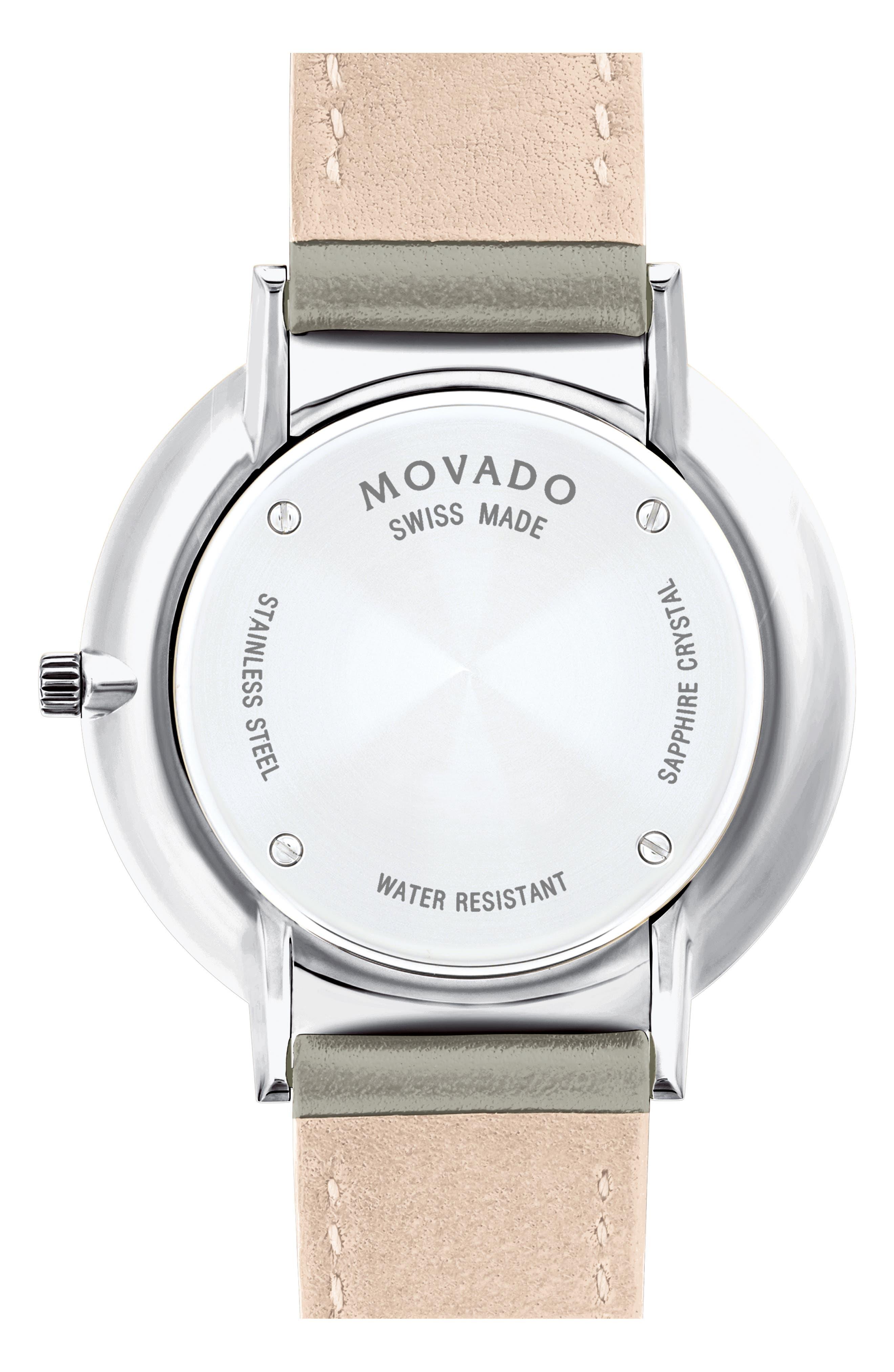 MOVADO, Ultraslim Leather Strap Watch, 35mm, Alternate thumbnail 2, color, GREY/ BEIGE/ SILVER