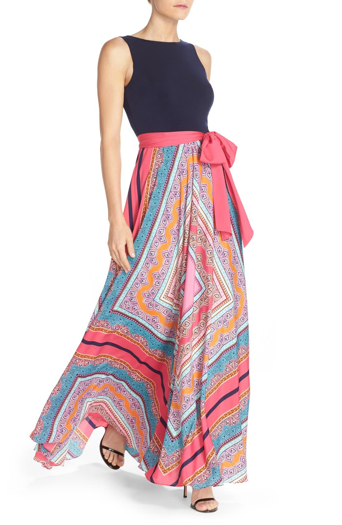 ELIZA J, Scarf Print Jersey & Crêpe de Chine Maxi Dress, Alternate thumbnail 9, color, PINK