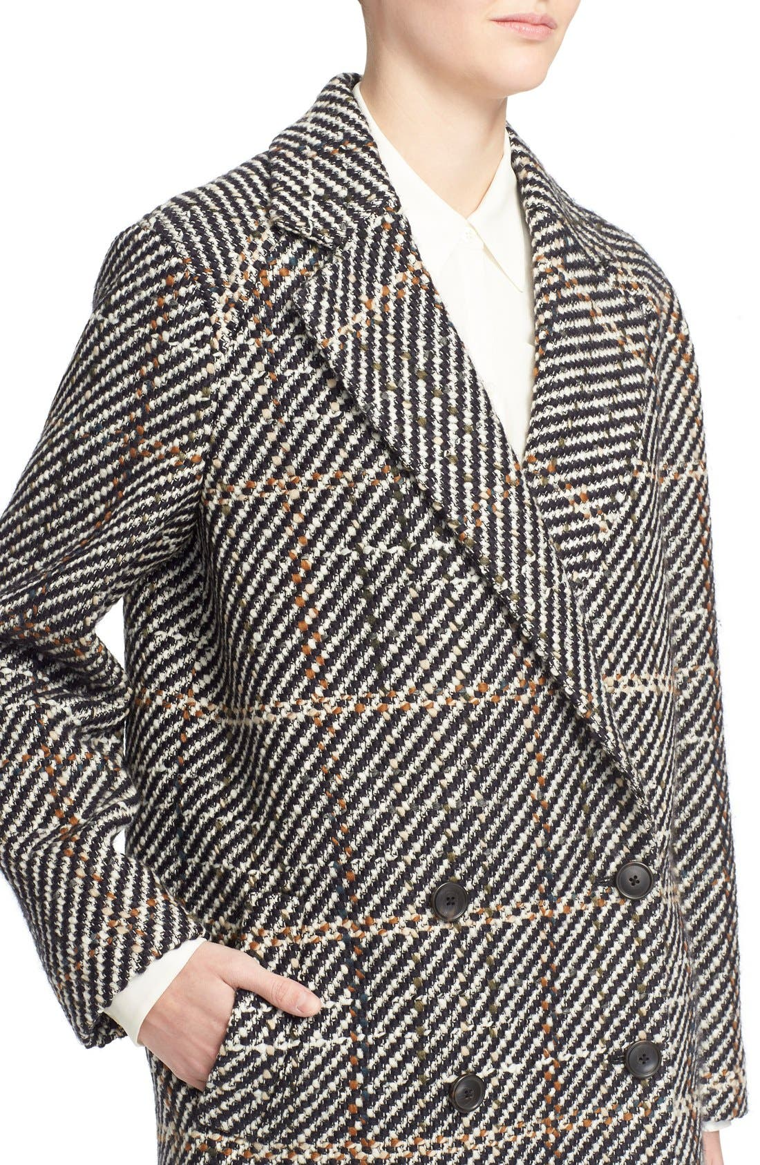 THEORY, Graphic Tweed Coat, Alternate thumbnail 2, color, 454