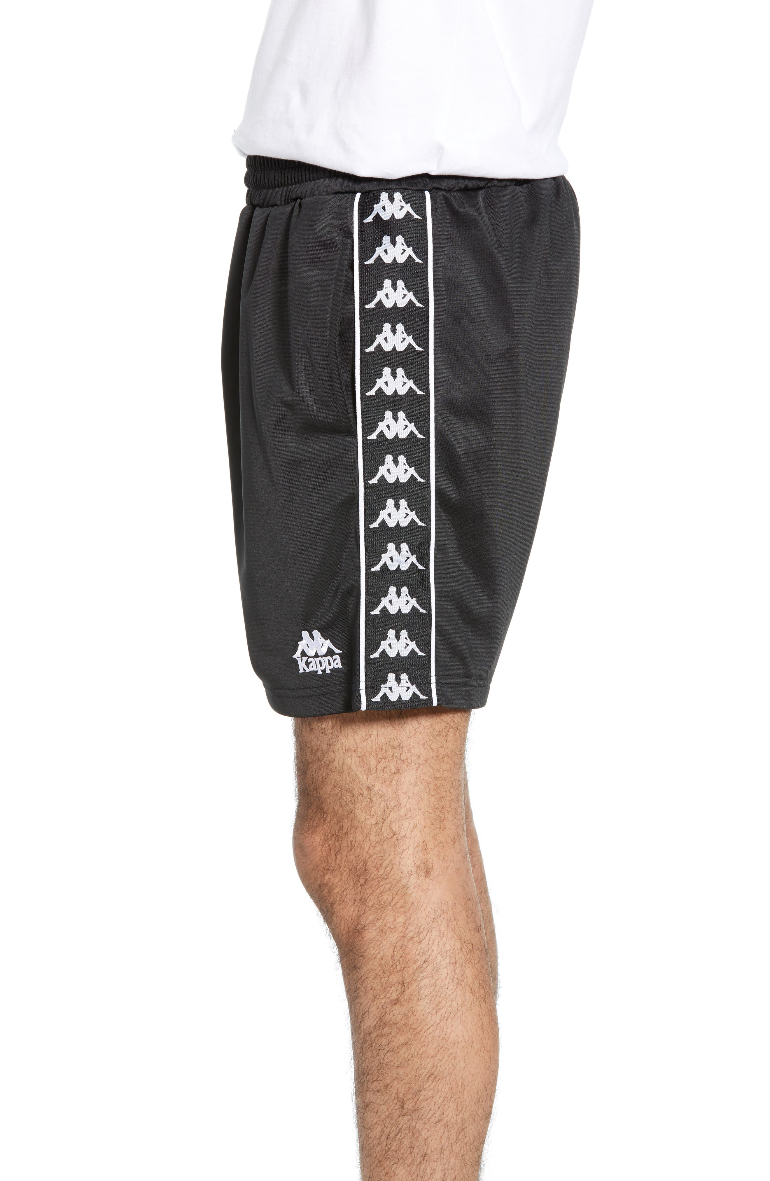 KAPPA, 222 Banda Cole Athletic Shorts, Alternate thumbnail 5, color, BLACK/ WHITE