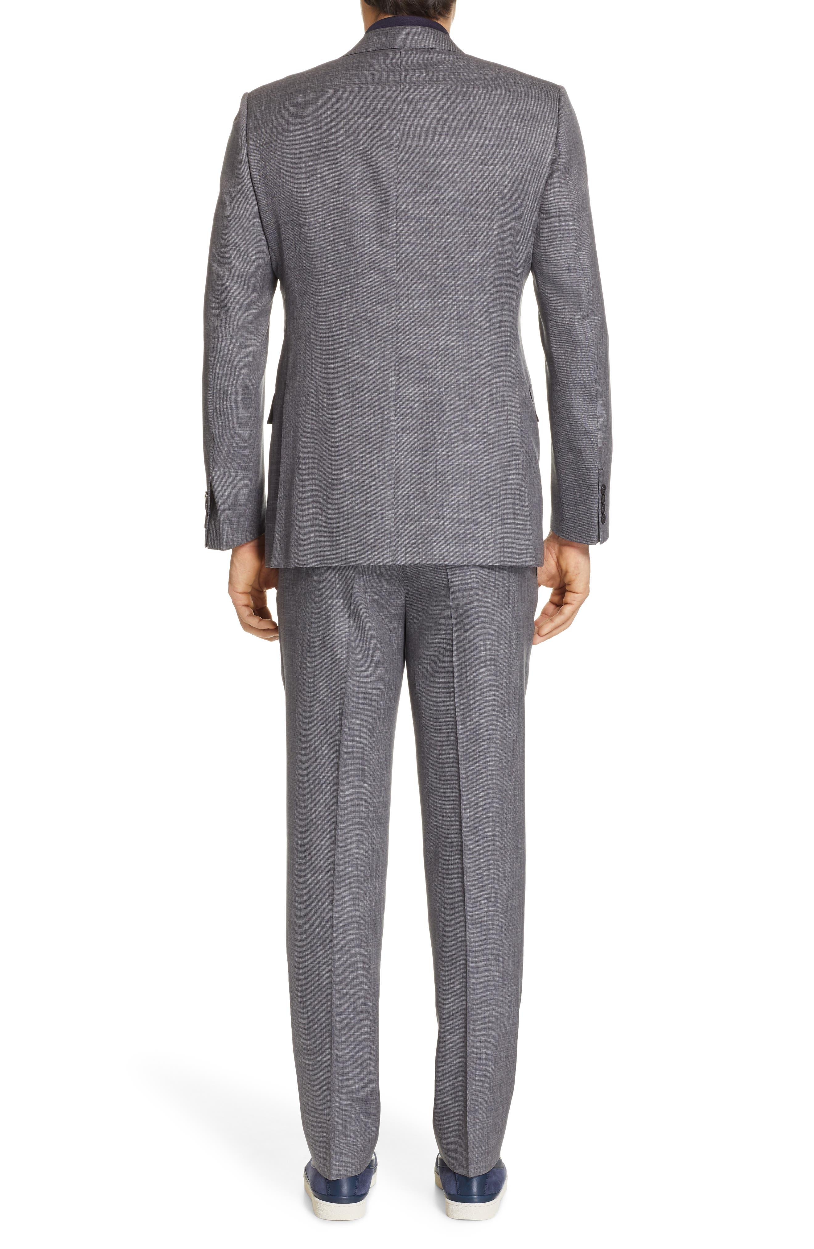 ERMENEGILDO ZEGNA, Milano Trim Fit Solid Wool & Silk Suit, Alternate thumbnail 2, color, GREY