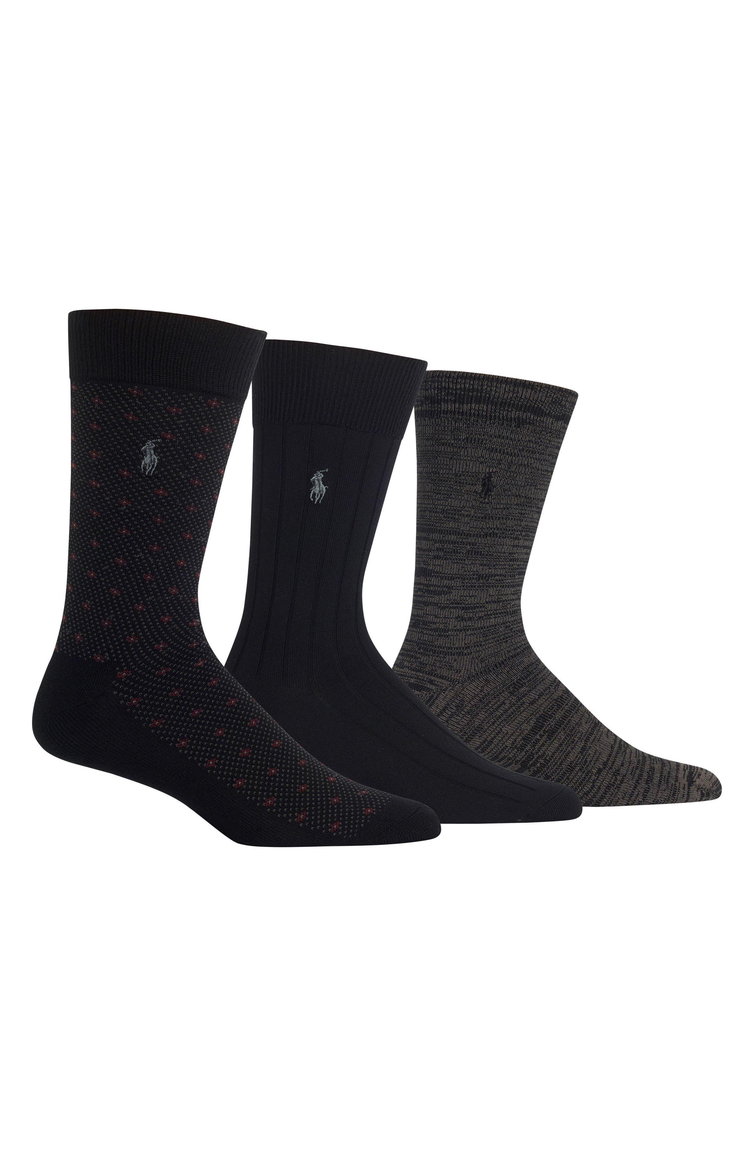 POLO RALPH LAUREN, Supersoft Diamond Dot Assorted 3-Pack Socks, Main thumbnail 1, color, BLACK