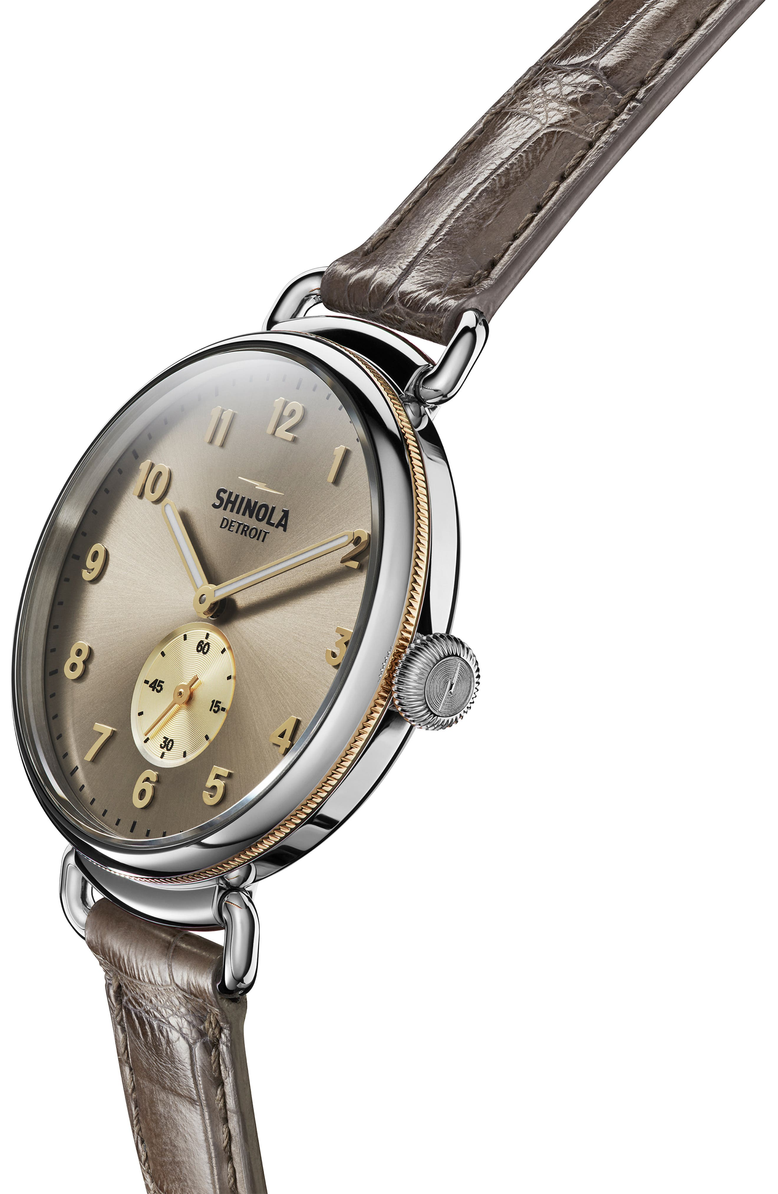 SHINOLA, The Canfield Alligator Strap Watch, 38mm, Alternate thumbnail 5, color, GREY/ TAUPE SUNRAY/ SILVER