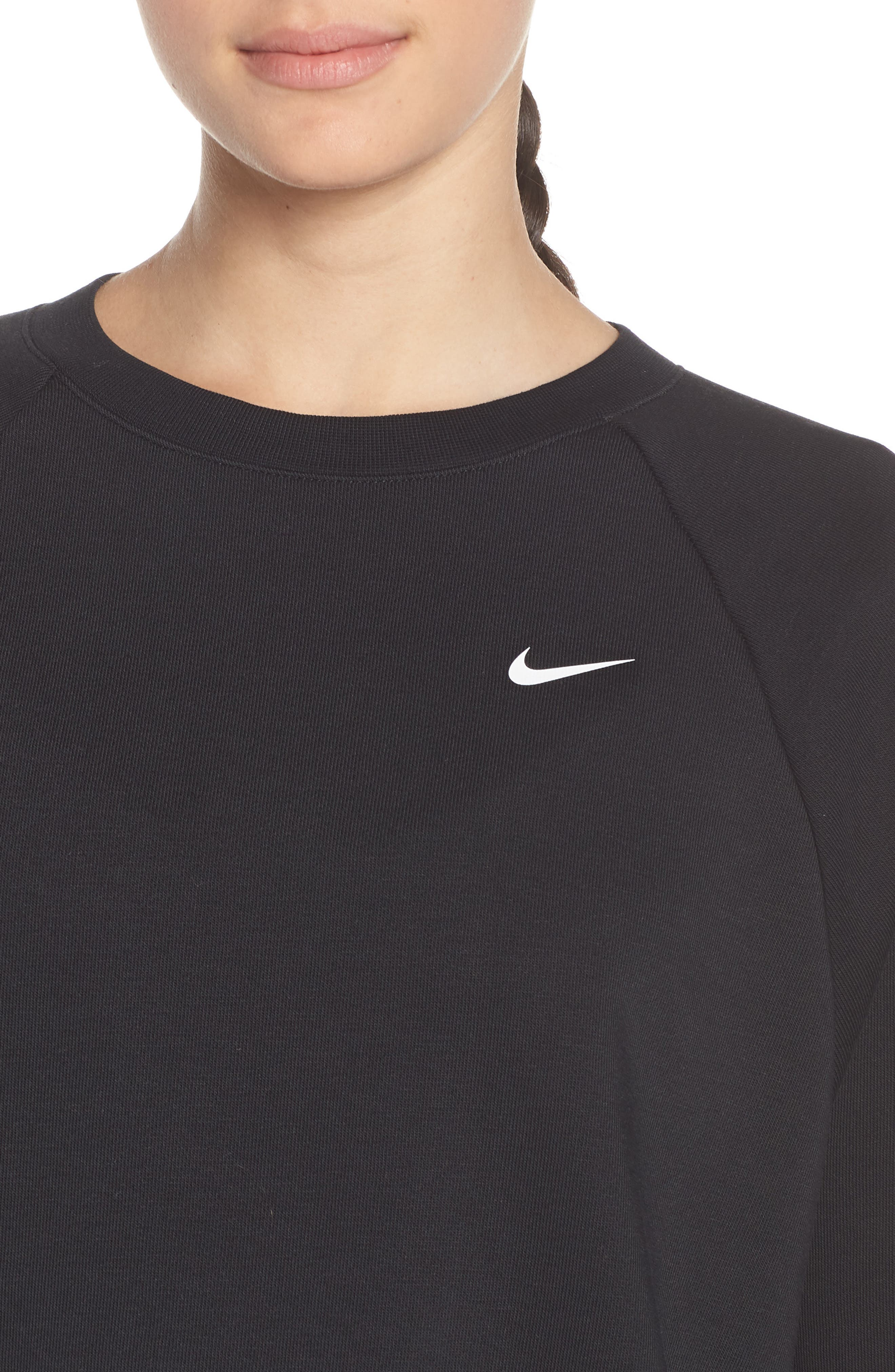 NIKE, Dry Crop Training Sweatshirt, Alternate thumbnail 5, color, BLACK/ WHITE