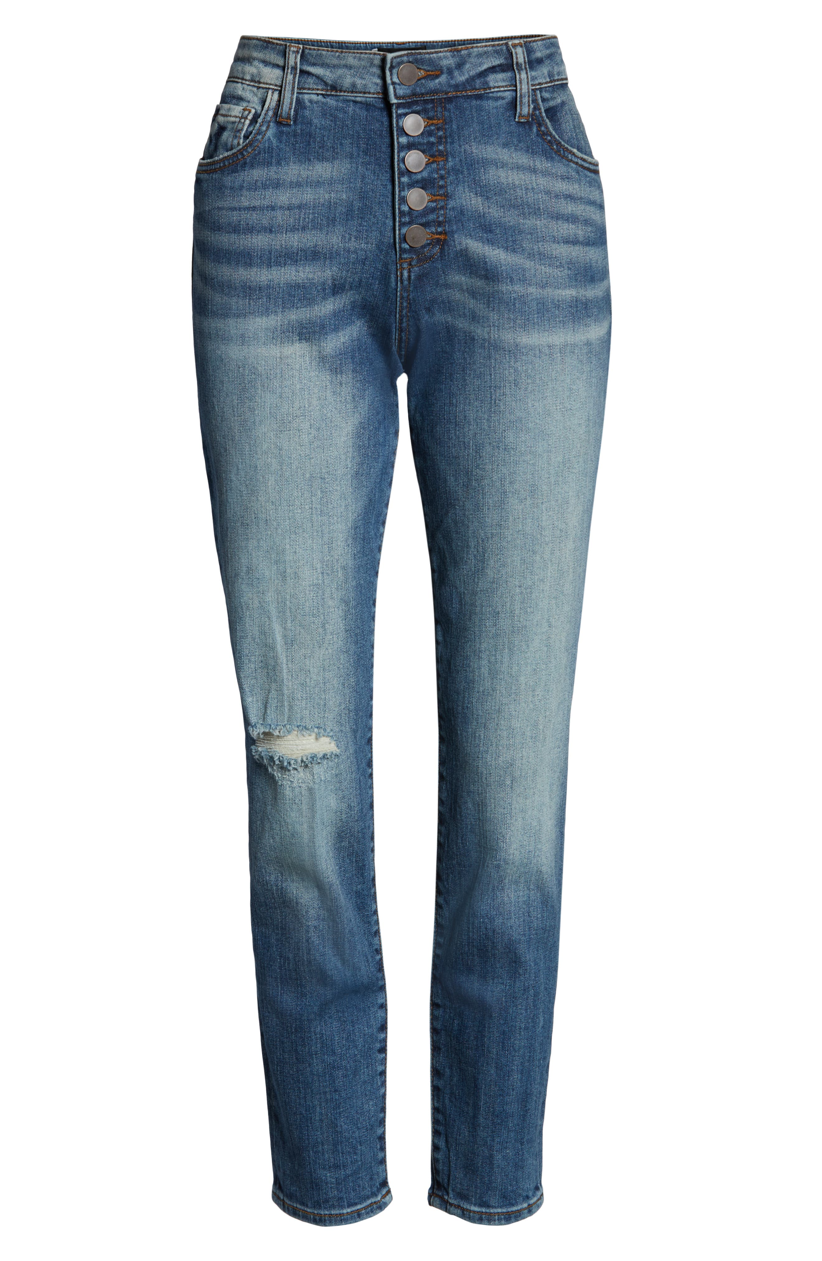 KUT FROM THE KLOTH, Donna Ripped High Waist Ankle Skinny Jeans, Alternate thumbnail 6, color, 402