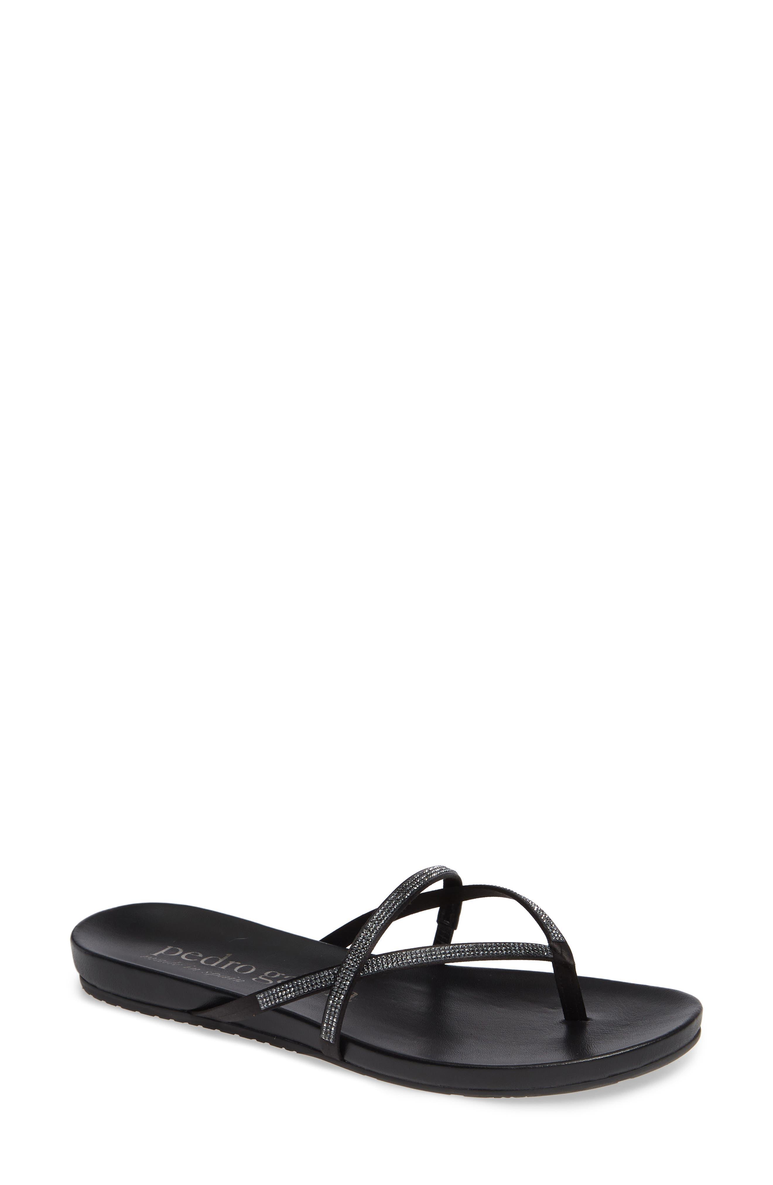 PEDRO GARCIA Giulia Crystal Embellished Sandal, Main, color, METEORITE SATIN