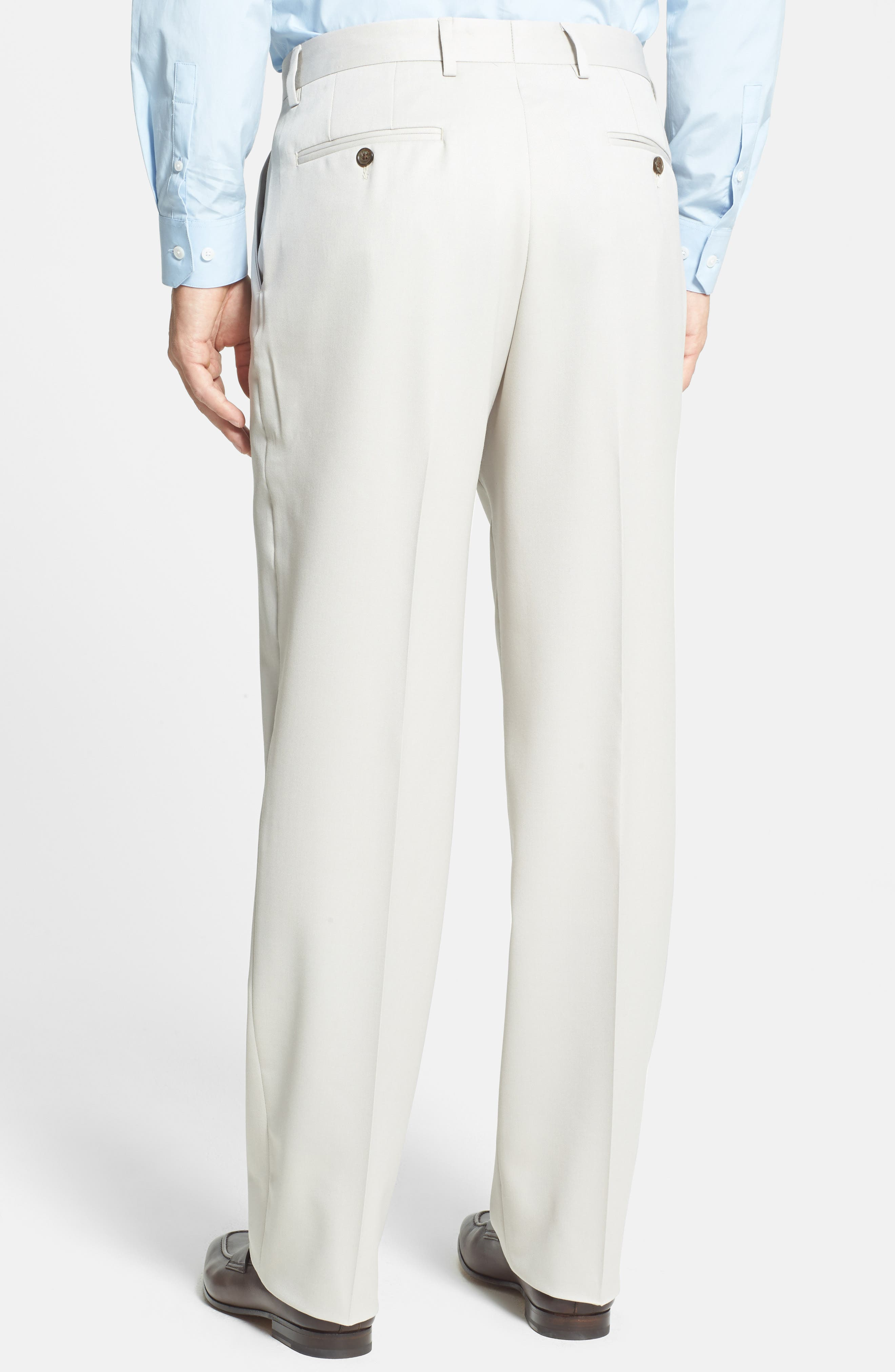 BERLE, Flat Front Wool Gabardine Trousers, Alternate thumbnail 3, color, STONE
