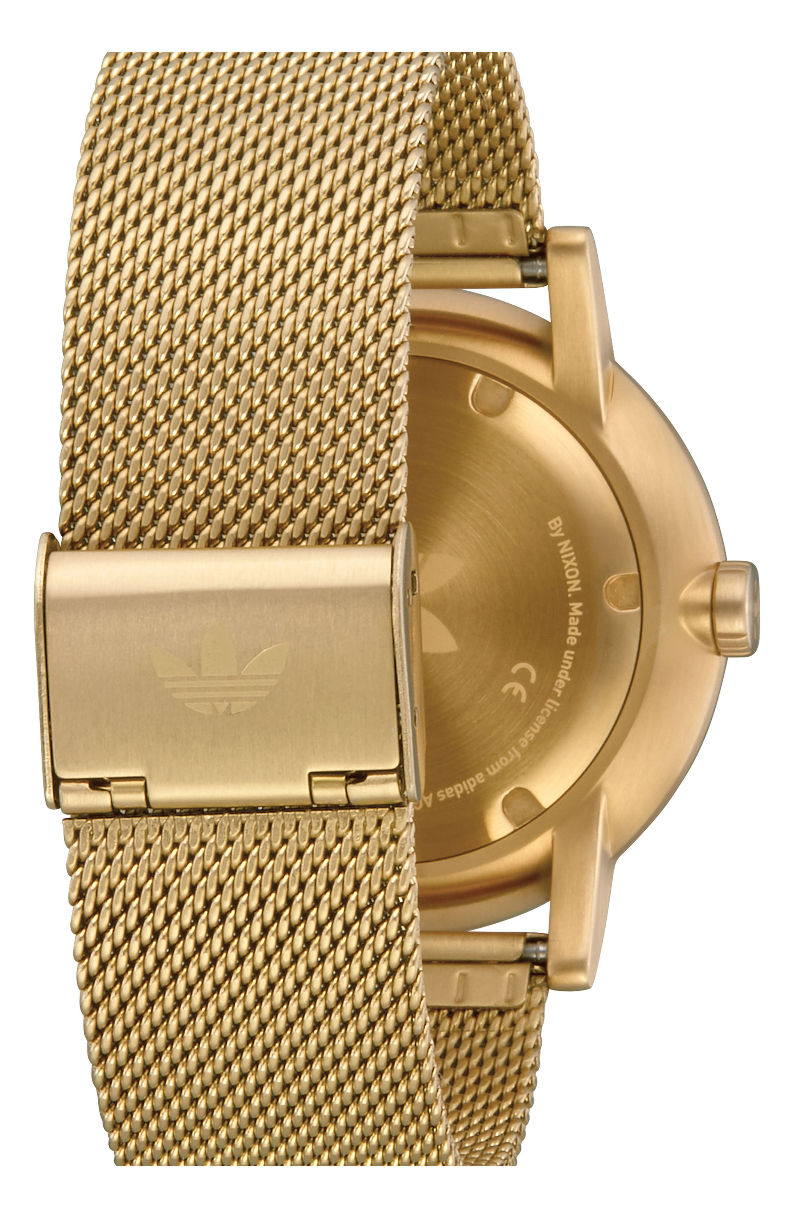 ADIDAS, District Milanese Bracelet Watch, 40mm, Alternate thumbnail 2, color, GOLD/ BLACK