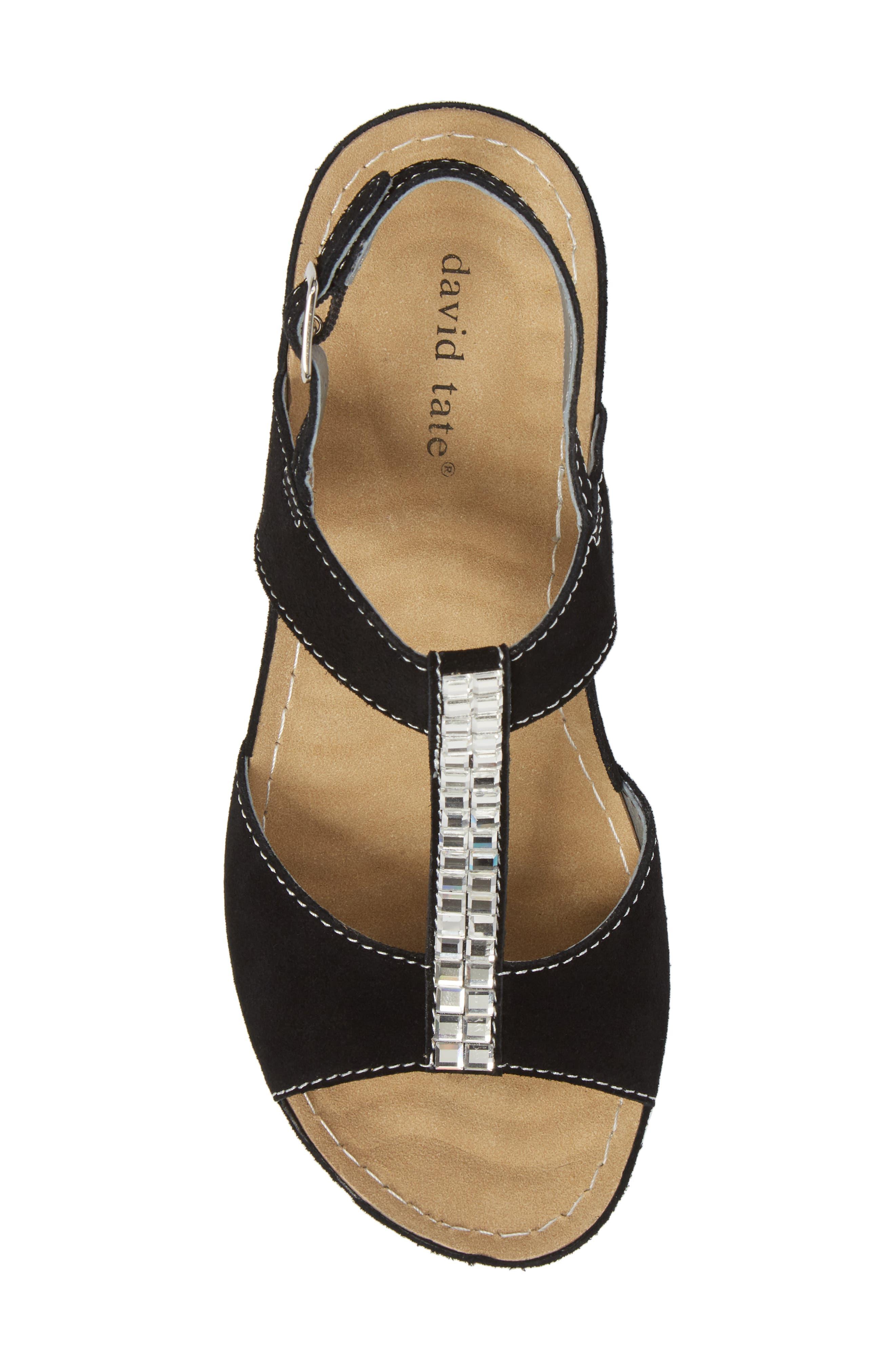 DAVID TATE, Bubbly Embellished T-Strap Wedge Sandal, Alternate thumbnail 5, color, BLACK SUEDE