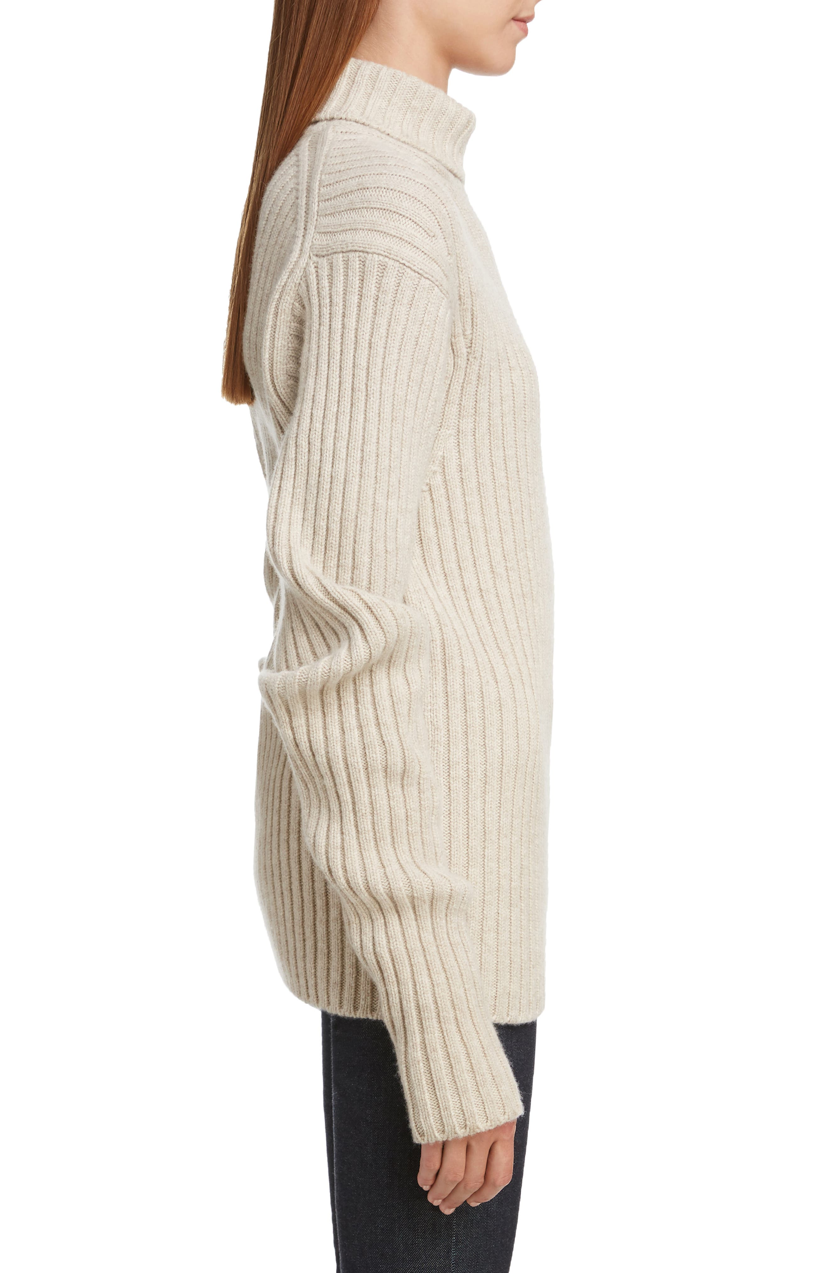 VICTORIA BECKHAM, Ribbed Wool Turtleneck Sweater, Alternate thumbnail 3, color, OATMEAL