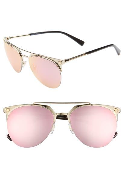 Versace Sunglasses 57MM MIRRORED SEMI-RIMLESS SUNGLASSES - PALE GOLD/ PINK MIRROR