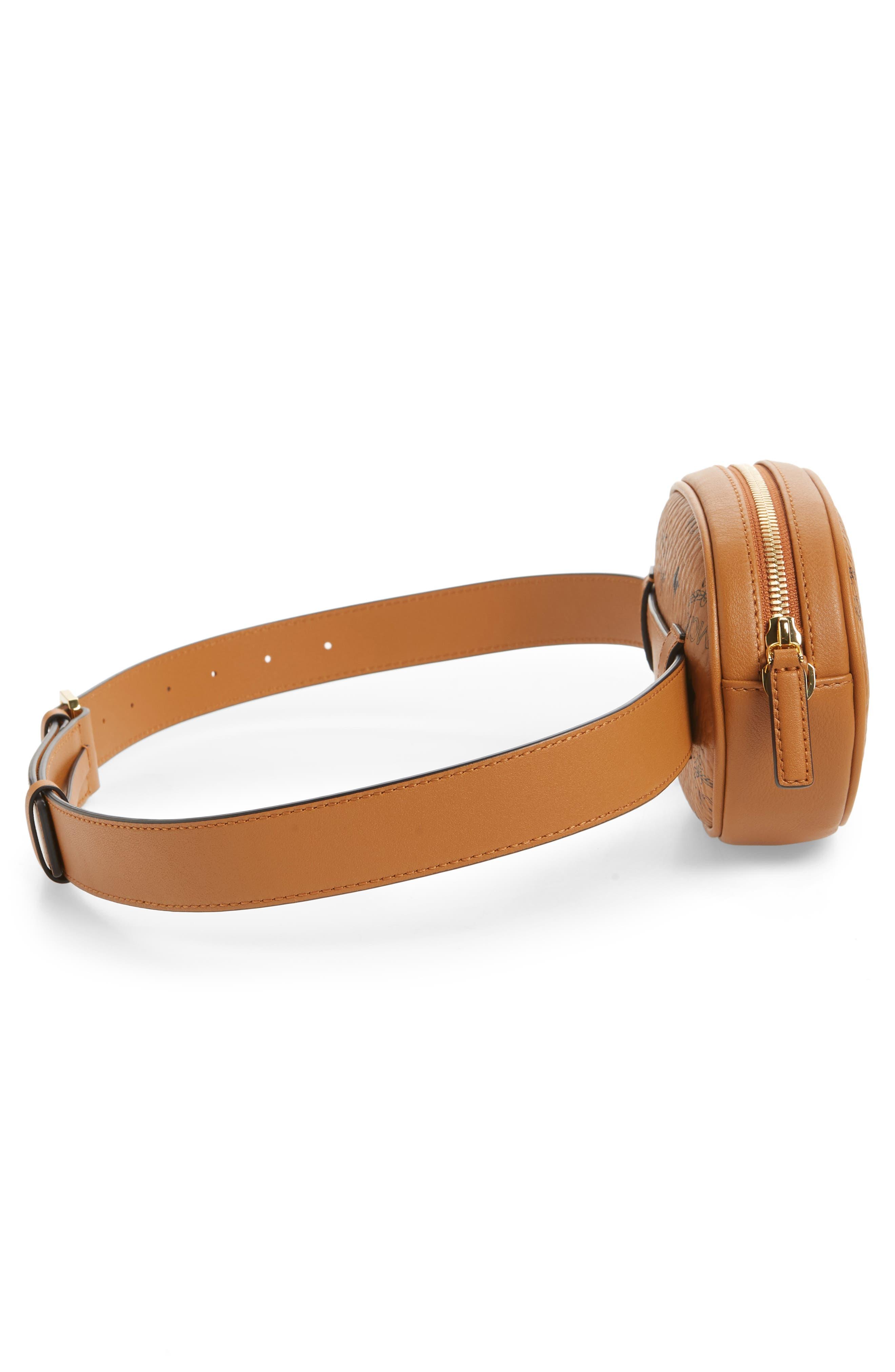 MCM, Essential Convertible Belt Bag, Alternate thumbnail 7, color, COGNAC