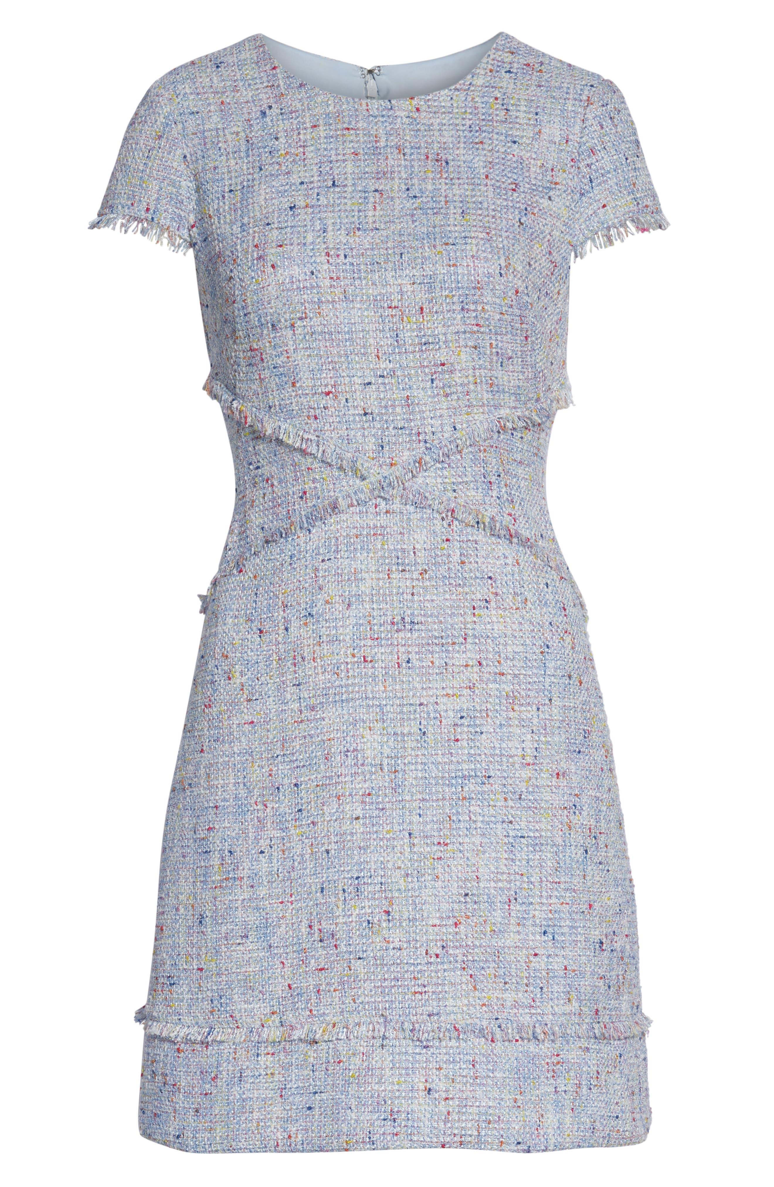 ELIZA J, Sheath Tweed Sheath Dress, Alternate thumbnail 7, color, BLUE