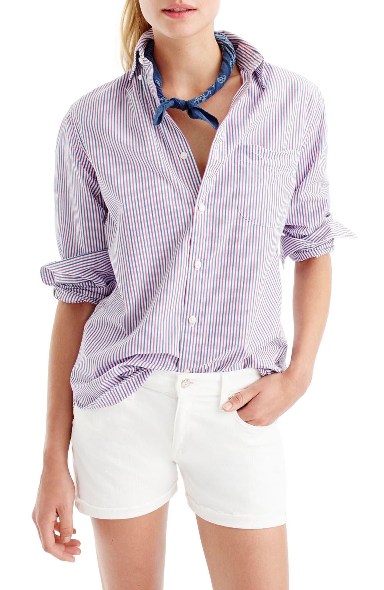 J.CREW Midrise White Denim Shorts, Main, color, WHITE