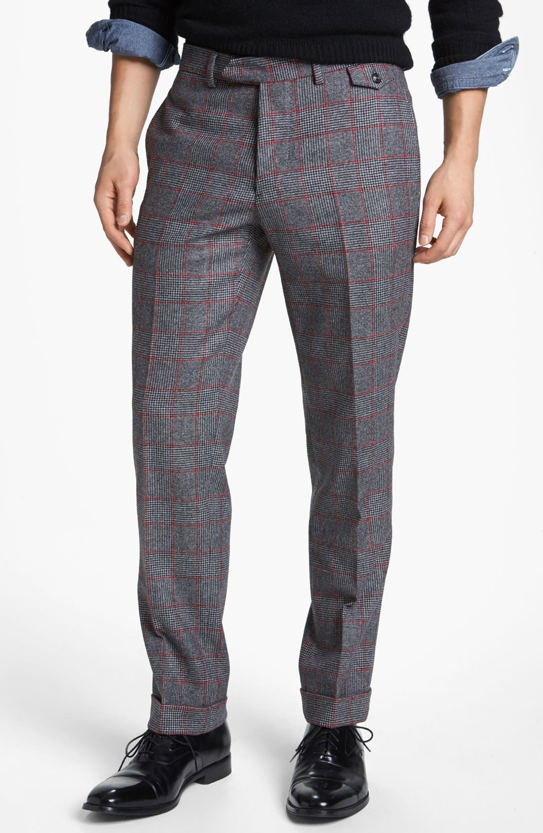 MICHAEL BASTIAN Skinny Fit Glen Plaid Pants, Main, color, 023