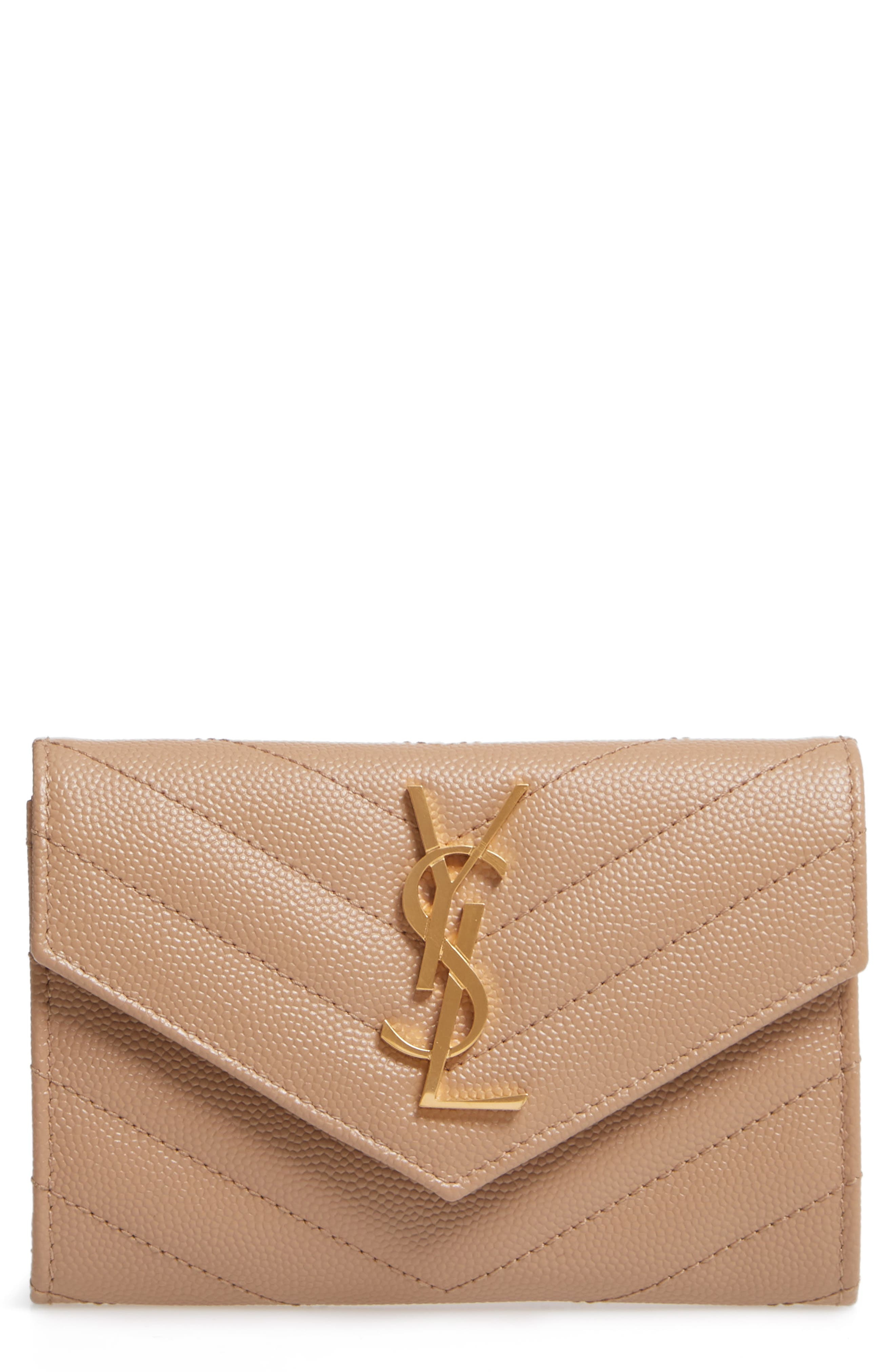 SAINT LAURENT 'Monogram' Quilted Leather French Wallet, Main, color, 253