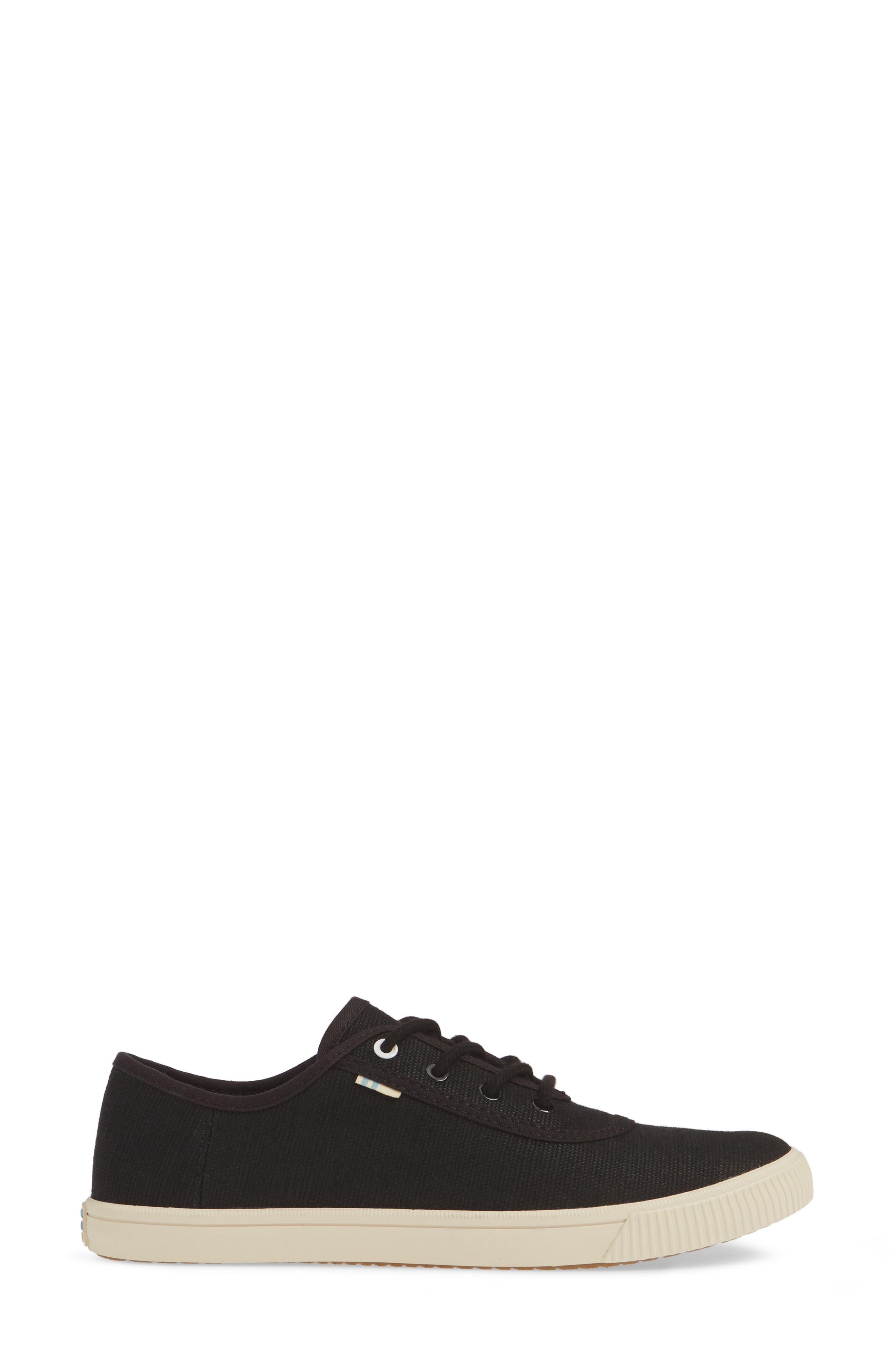 TOMS, Carmel Sneaker, Alternate thumbnail 3, color, BLACK HERITAGE CANVAS