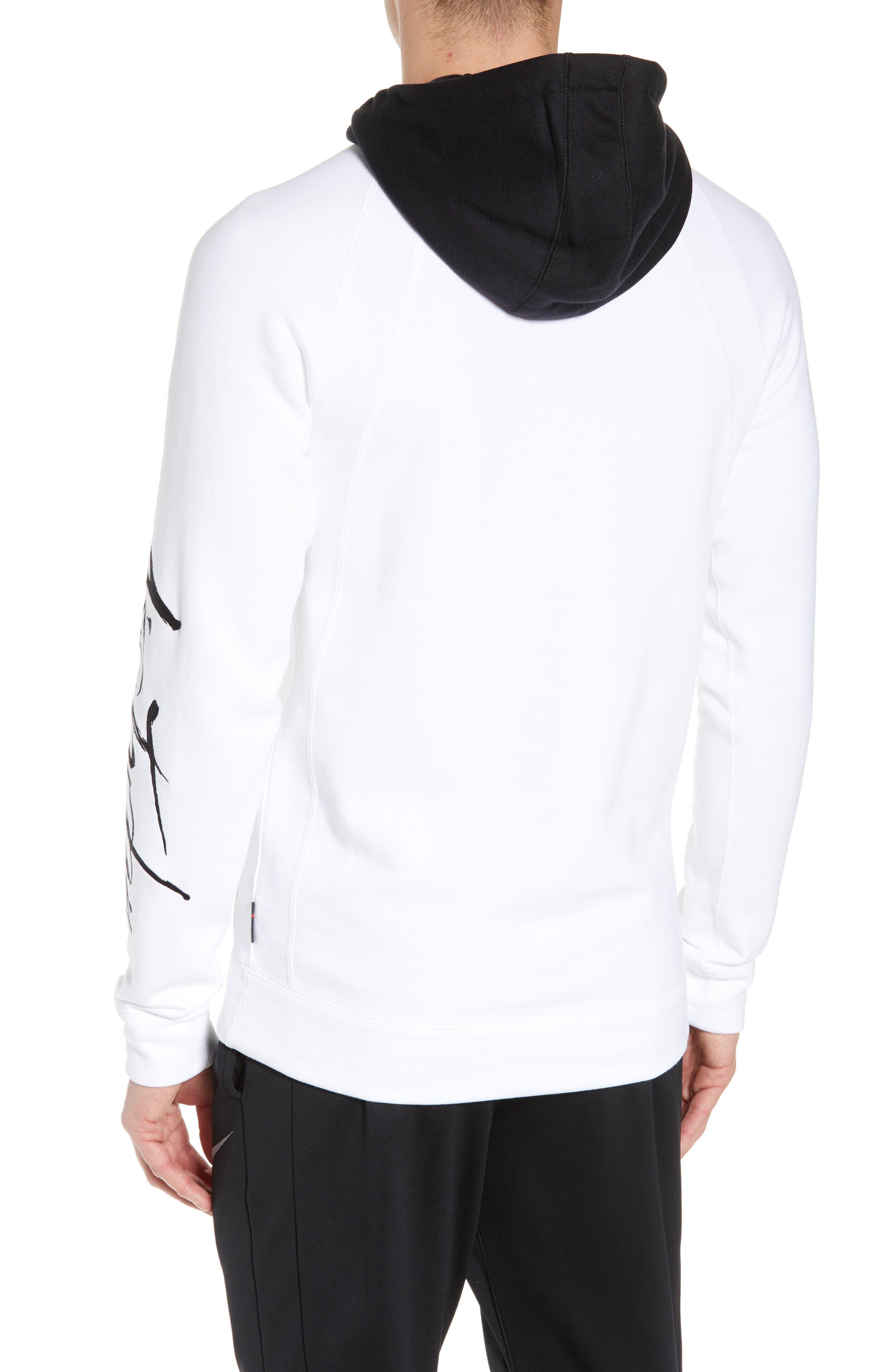 JORDAN, Sportswear Greatest Fleece Pullover Hoodie, Alternate thumbnail 2, color, WHITE/ BLACK