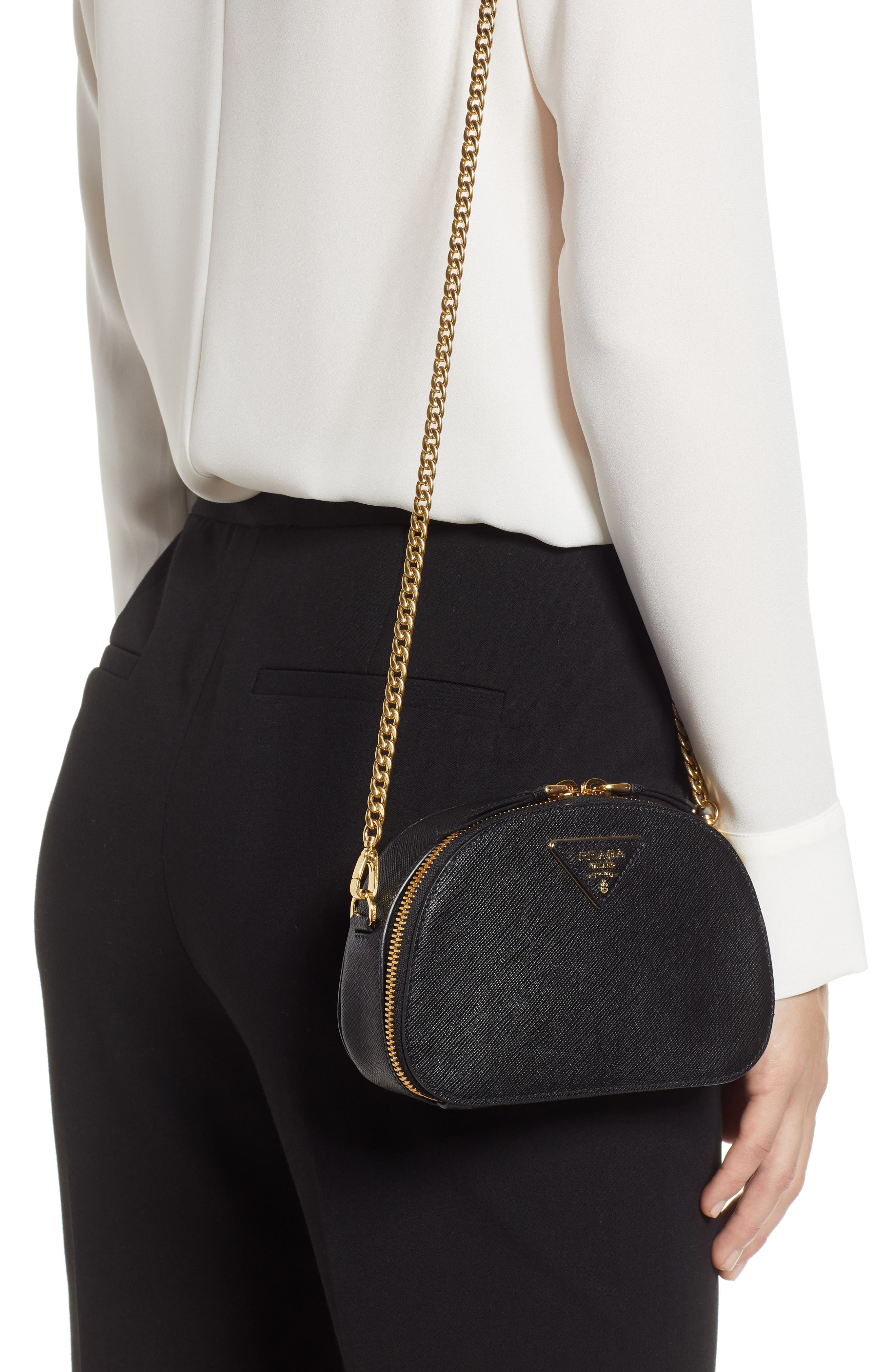 PRADA, Saffiano Leather Belt Bag, Alternate thumbnail 3, color, 001