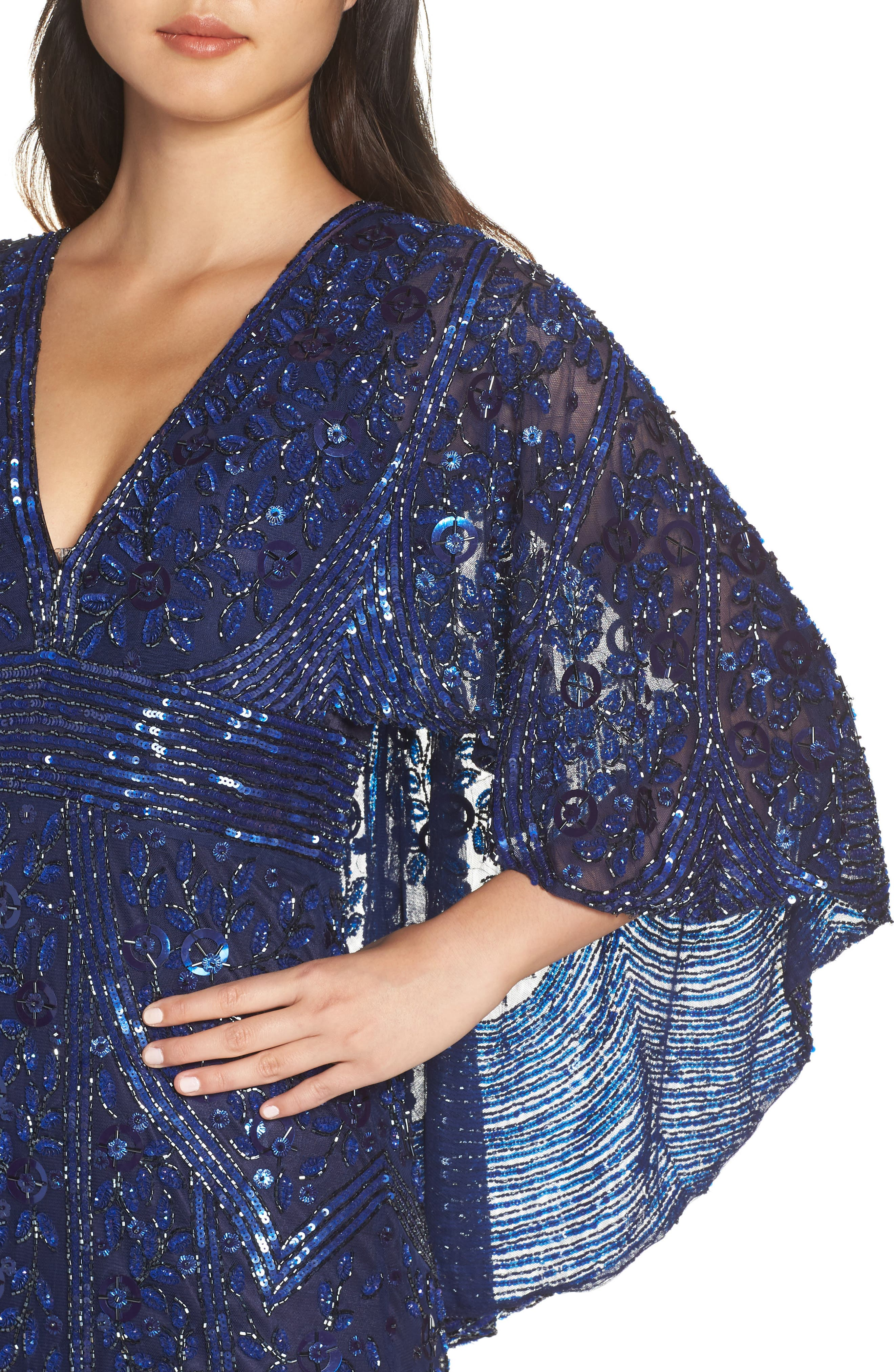 MAC DUGGAL, Sequin Cape Sleeve Evening Dress, Alternate thumbnail 5, color, MIDNIGHT