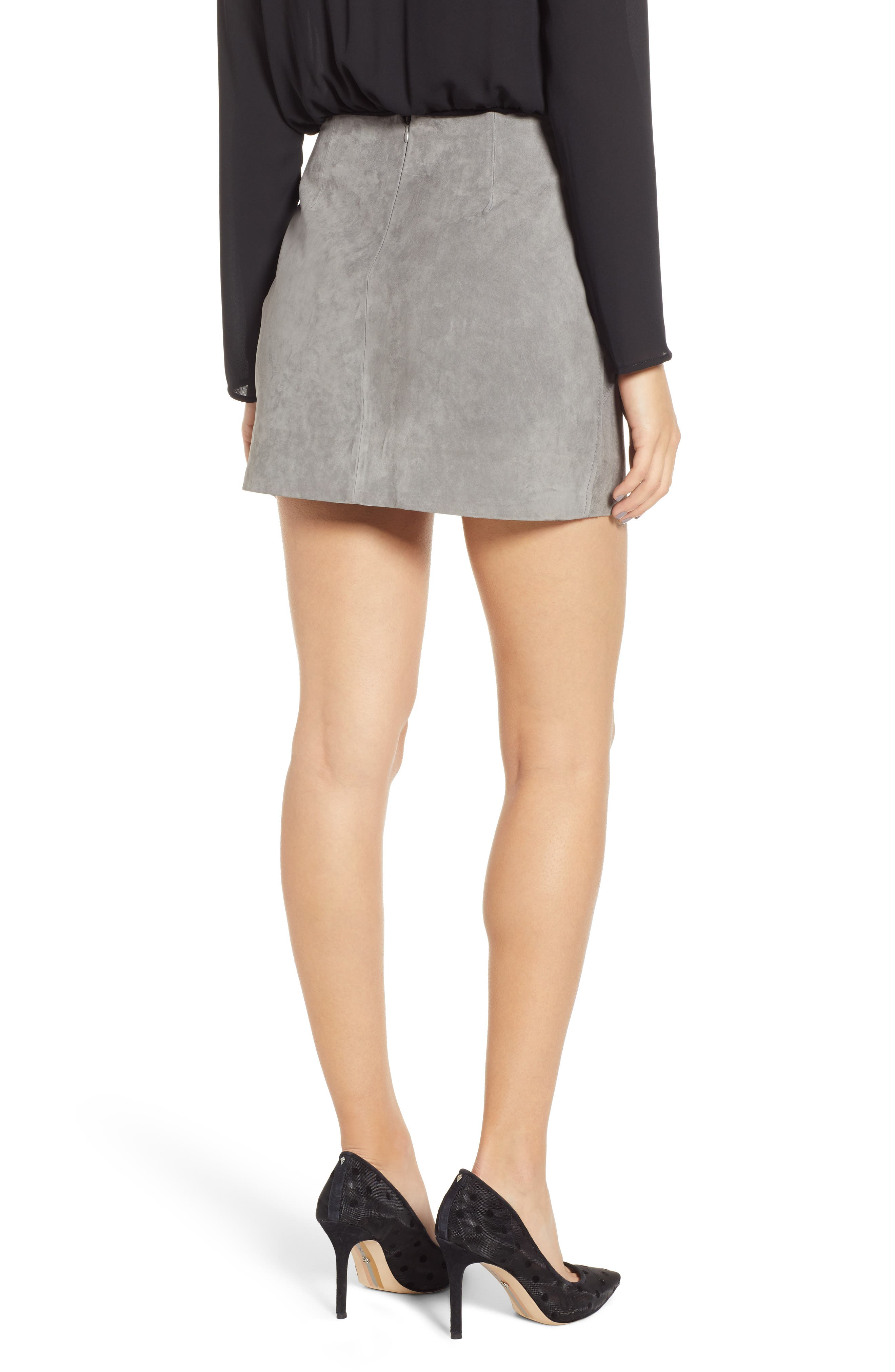 BLANKNYC, Lace-Up Suede Miniskirt, Alternate thumbnail 2, color, SOFT FOG