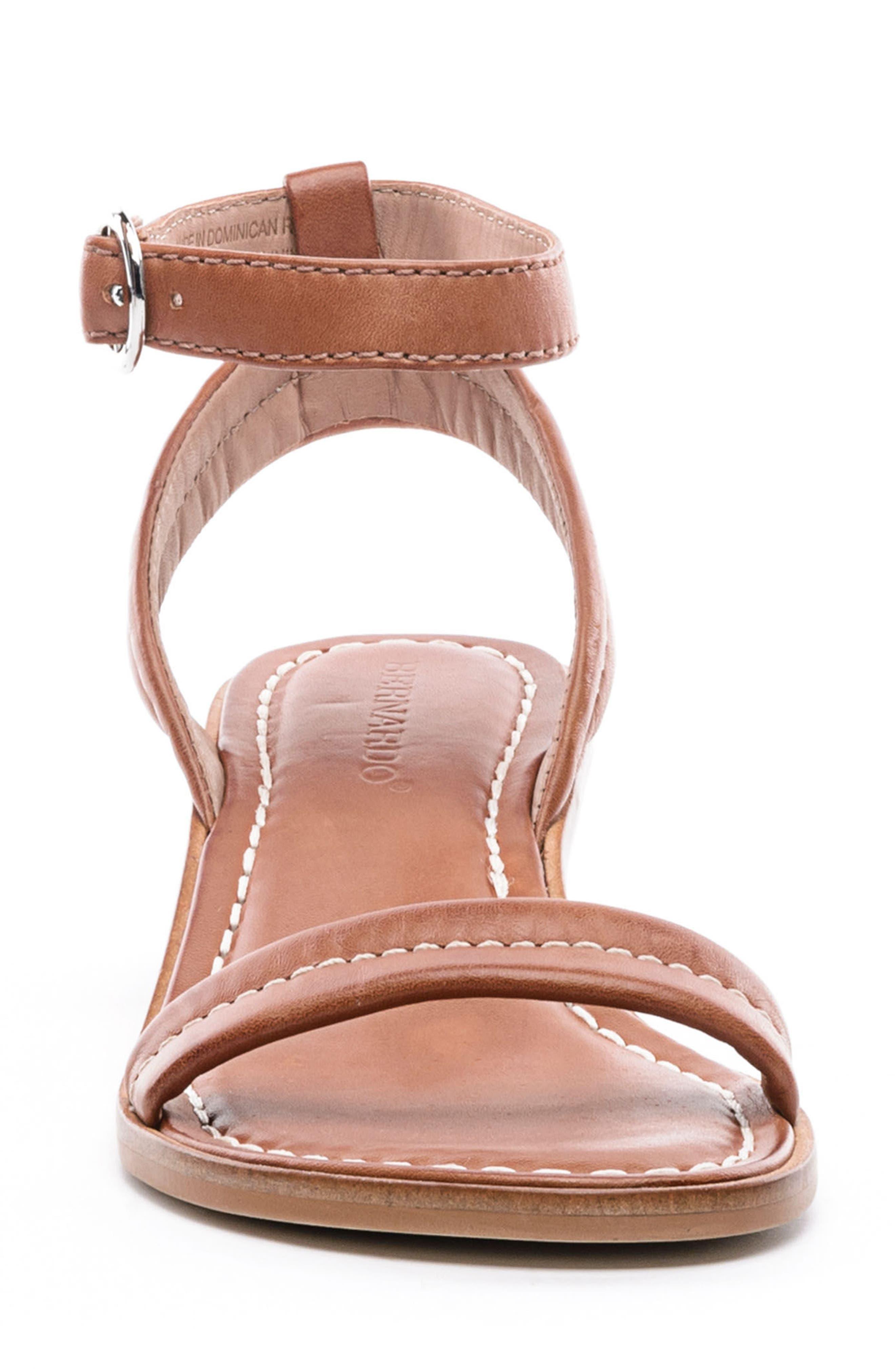 BERNARDO, Catherine Ankle Strap Sandal, Alternate thumbnail 4, color, LUGGAGE BROWN ANTIQUE