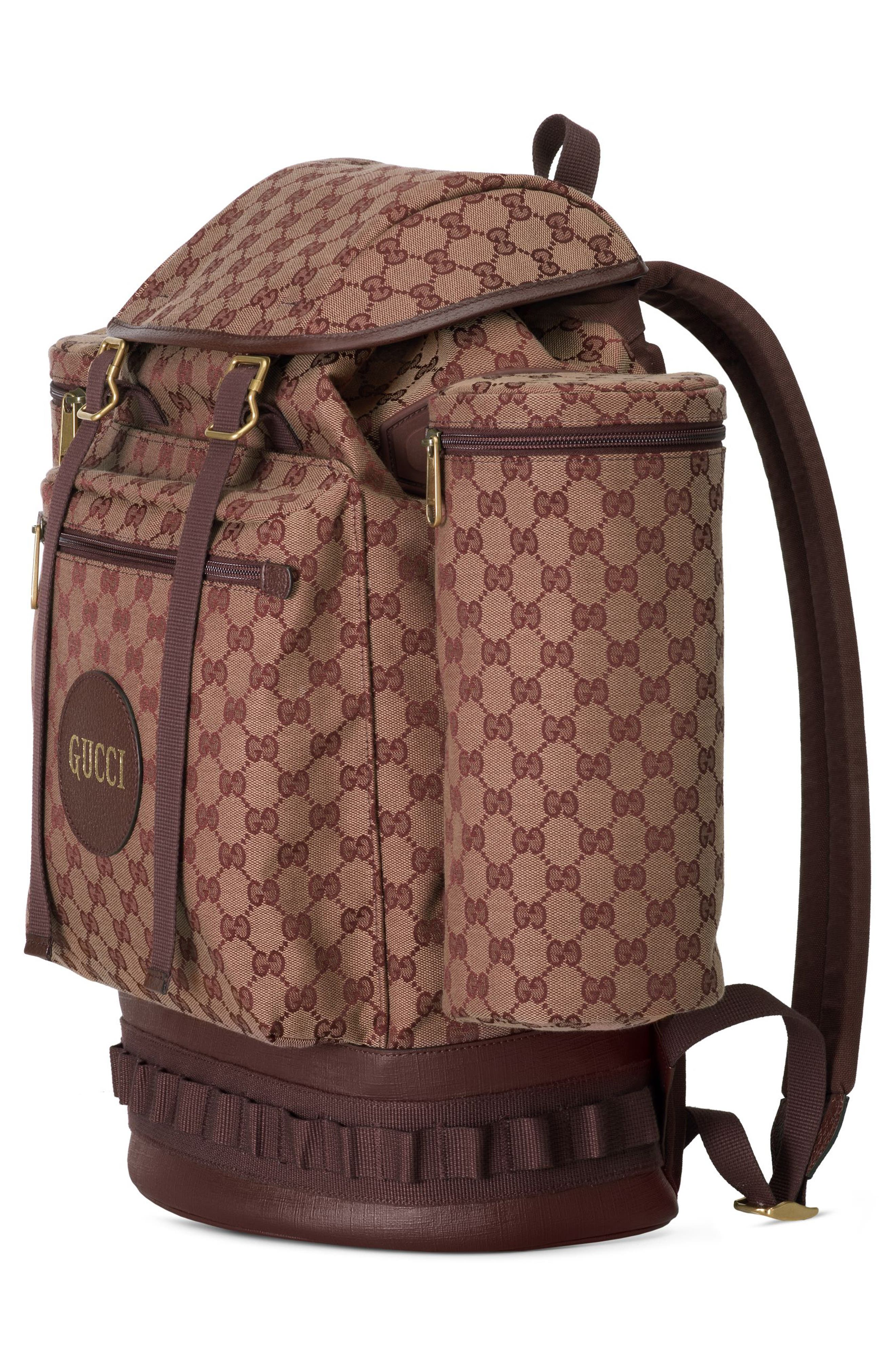 GUCCI, Large GG Canvas Backpack, Alternate thumbnail 4, color, BROWN RED