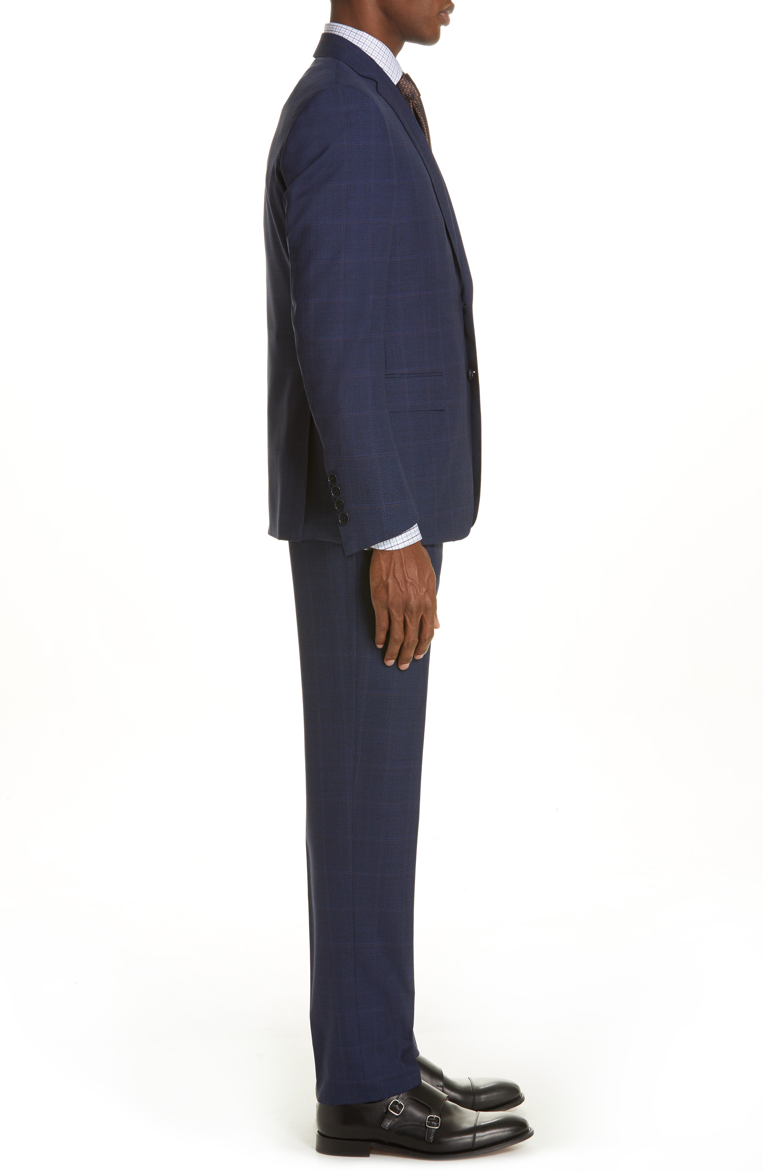 CANALI, Siena Soft Classic Fit Plaid Wool Suit, Alternate thumbnail 3, color, NAVY
