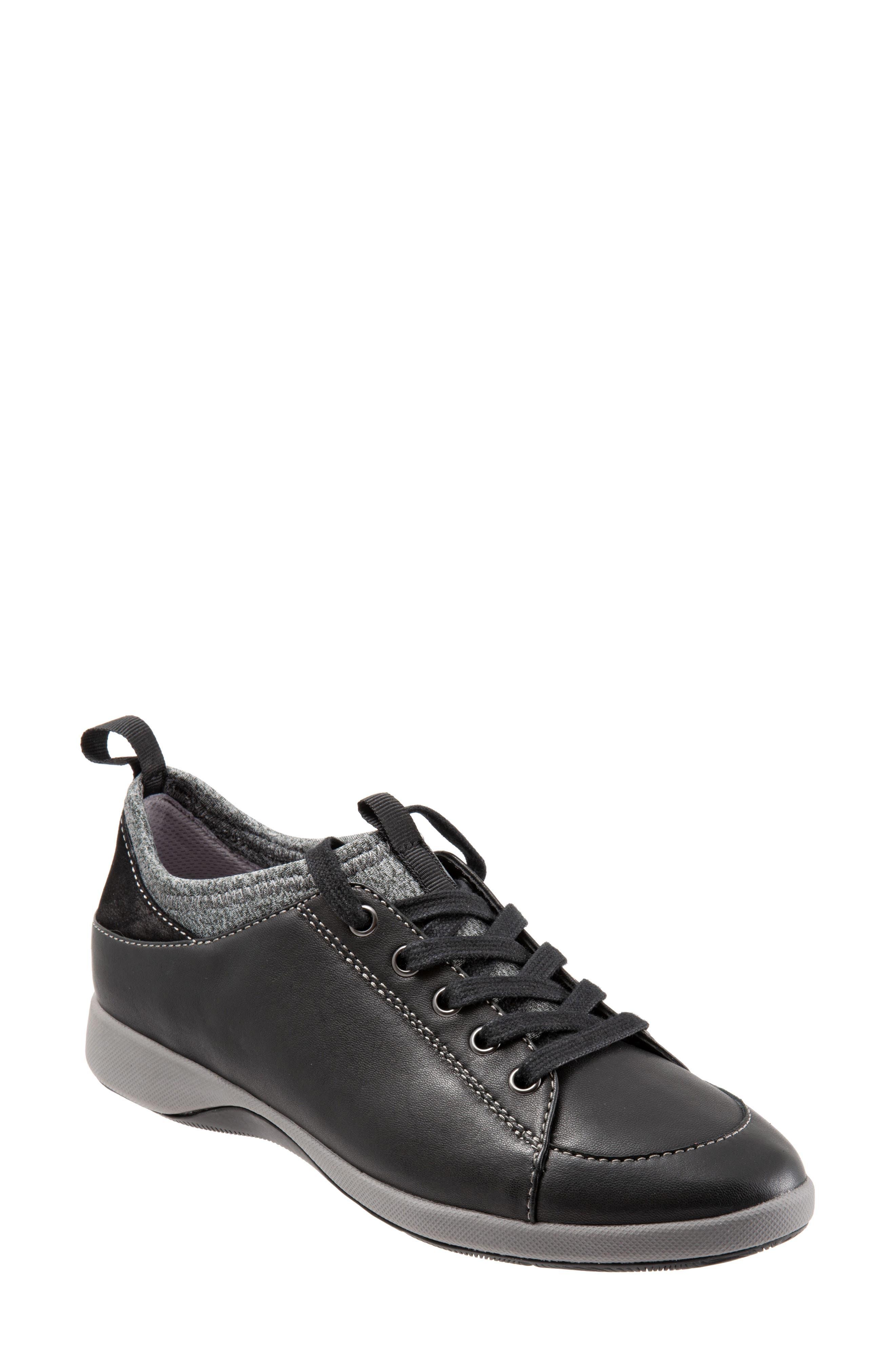 SOFTWALK<SUP>®</SUP>, SAVA Haven Sneaker, Main thumbnail 1, color, BLACK/ GREY LEATHER