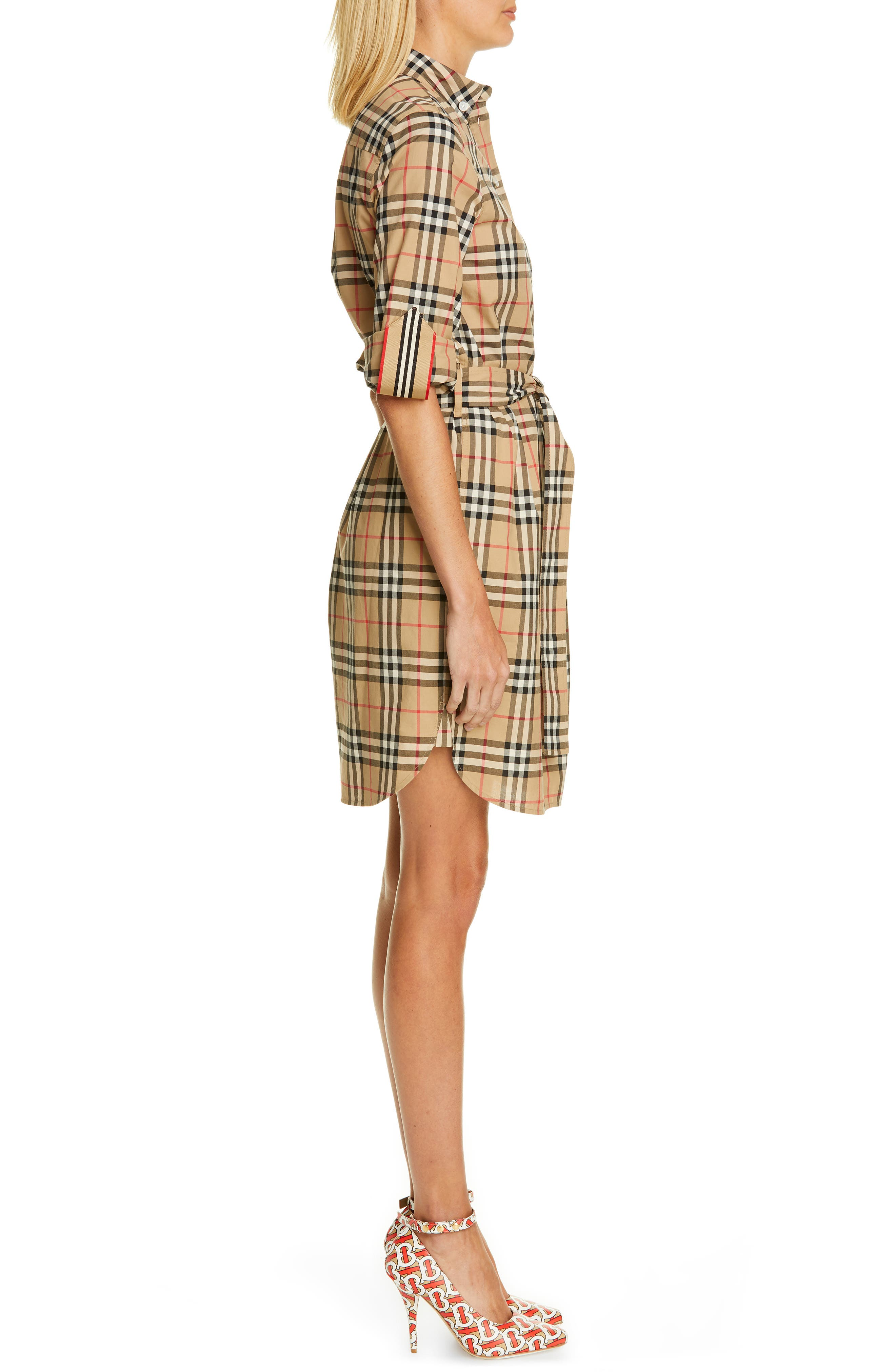 BURBERRY, Giovanna Archive Check Shirtdress, Alternate thumbnail 3, color, ARCHIVE BEIGE IP CHK