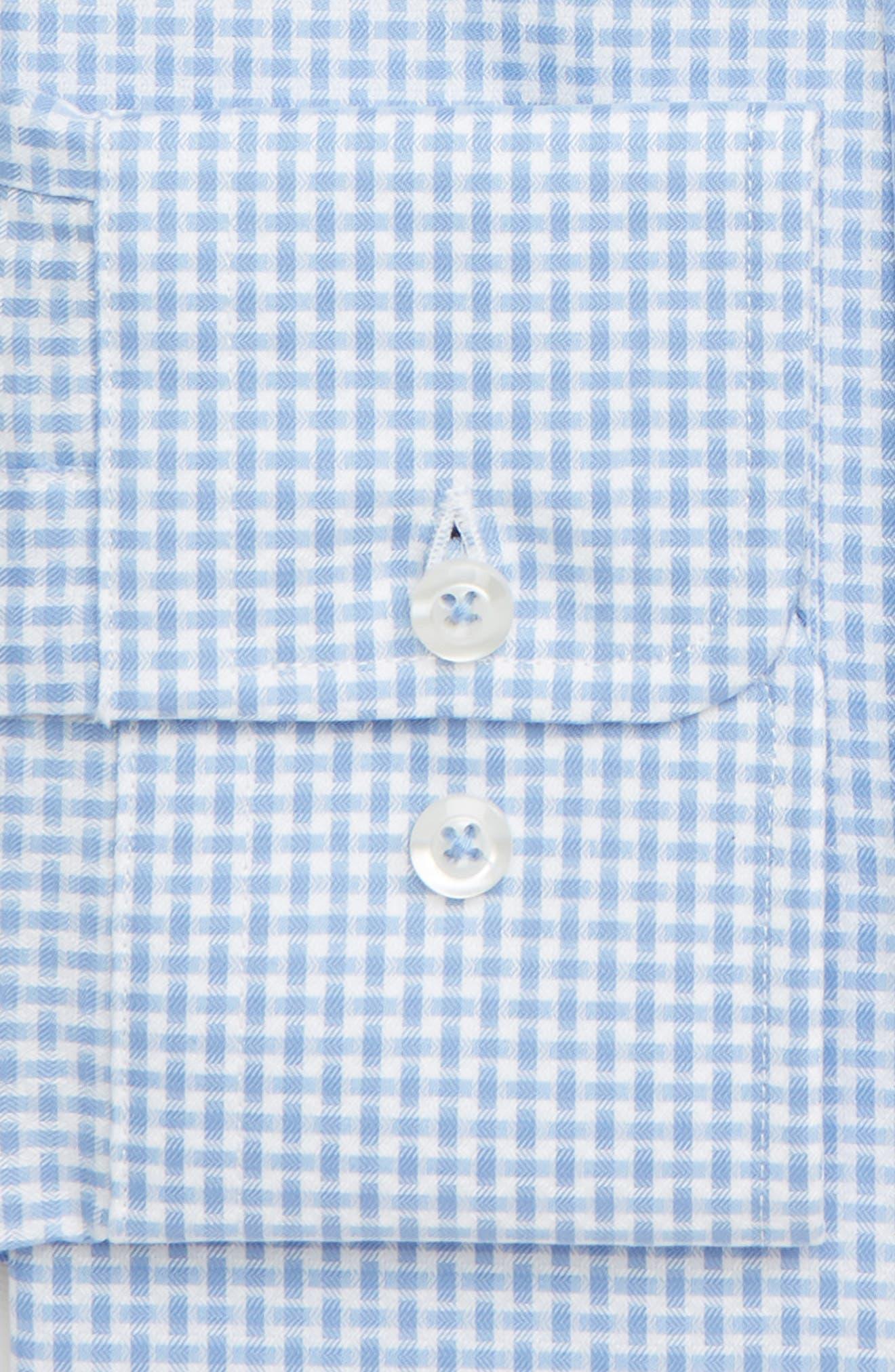 DAVID DONAHUE, Trim Fit Print Dress Shirt, Alternate thumbnail 2, color, BLUE