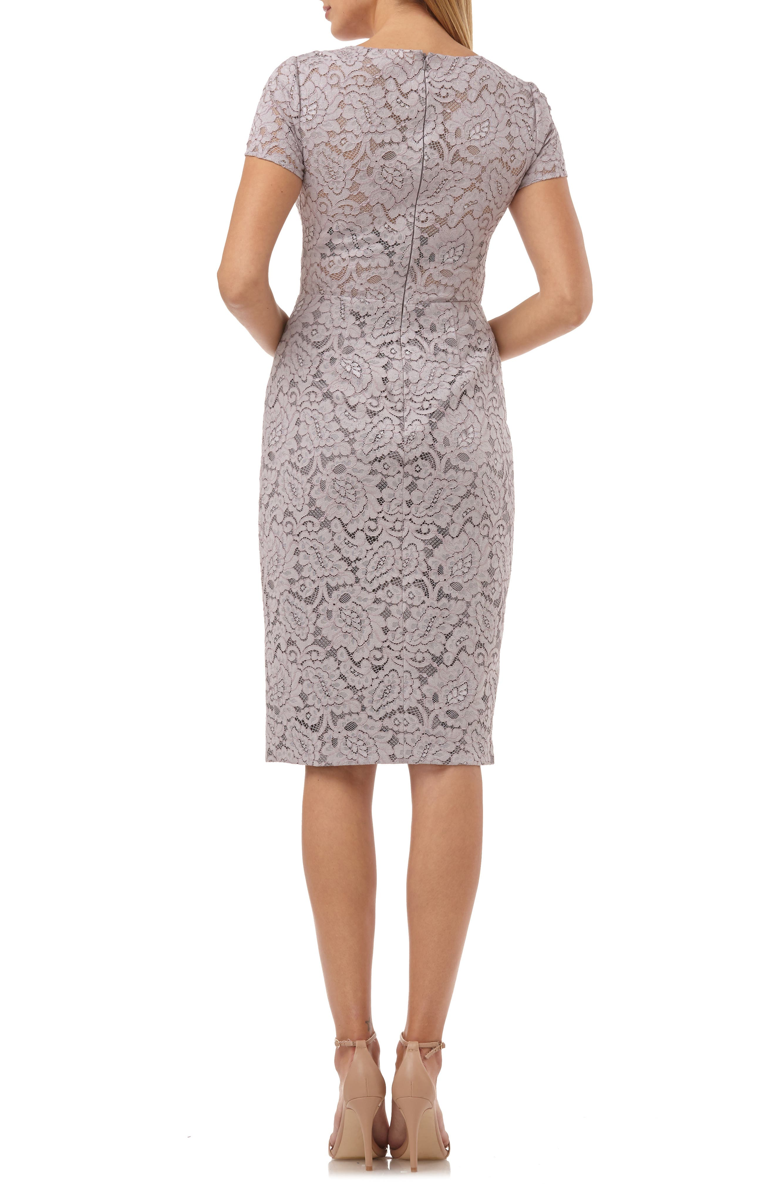 JS COLLECTIONS, Lace Cocktail Dress, Alternate thumbnail 2, color, TAUPE