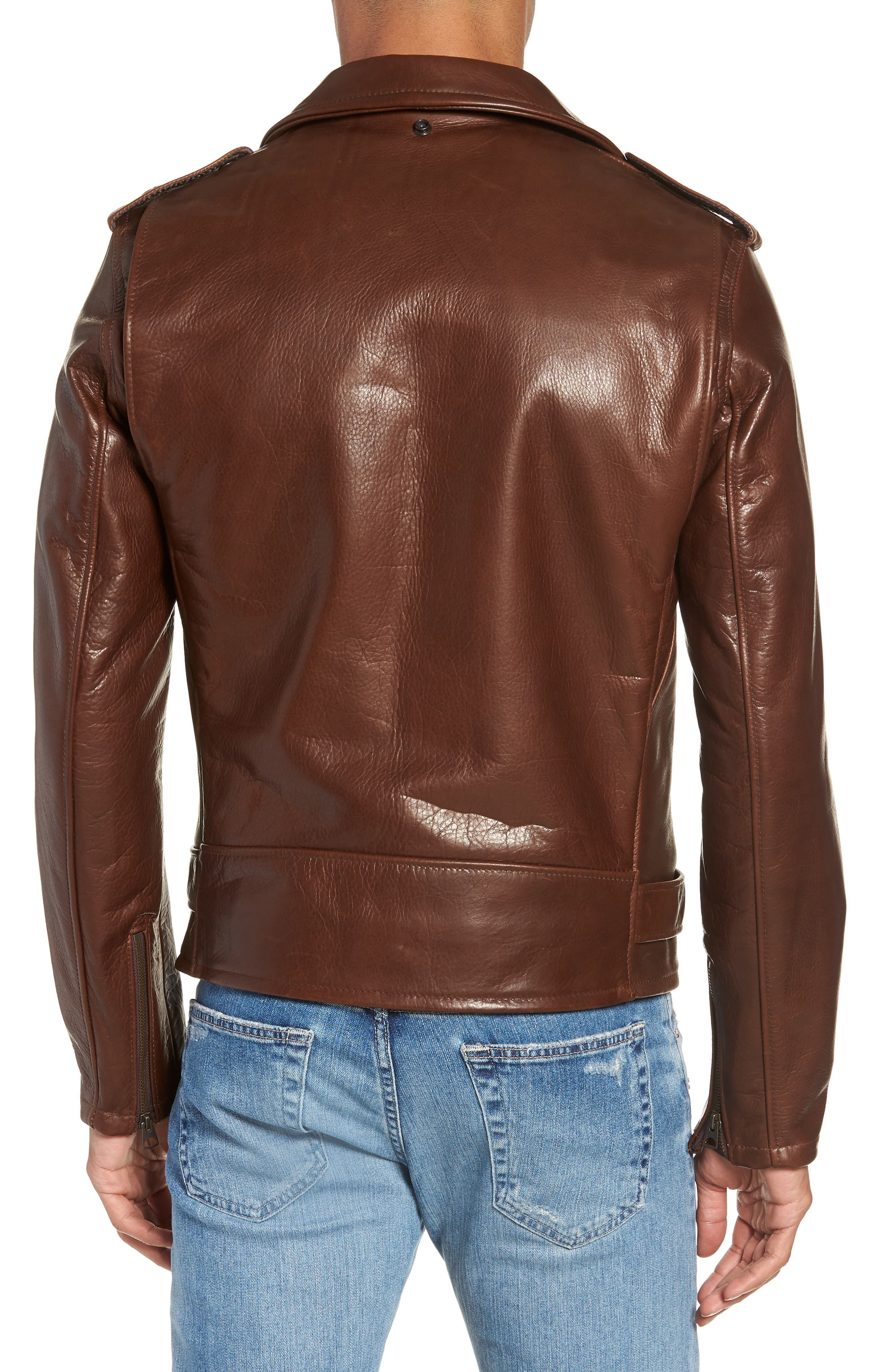 SCHOTT NYC, '50s Oil Tanned Cowhide Leather Moto Jacket, Alternate thumbnail 2, color, BROWN