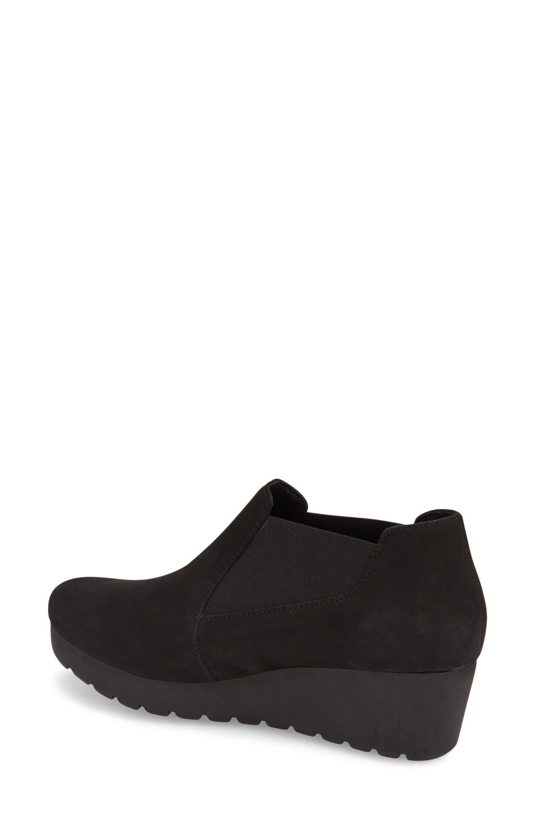 MEPHISTO, 'Tosca' Slip-On Wedge, Alternate thumbnail 3, color, BLACK NUBUCK LEATHER
