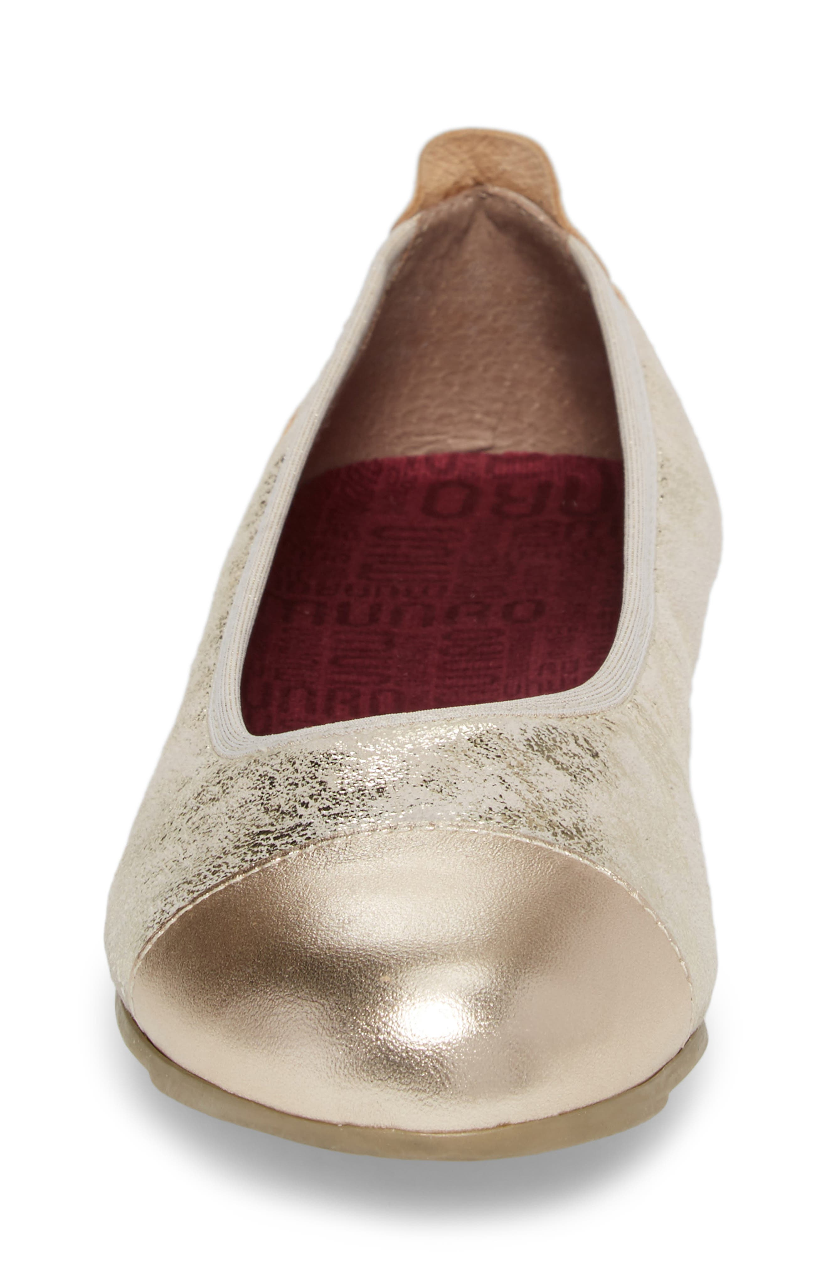MUNRO, Henlee Cap Toe Flat, Alternate thumbnail 4, color, PLATINUM SHIMMER LEATHER
