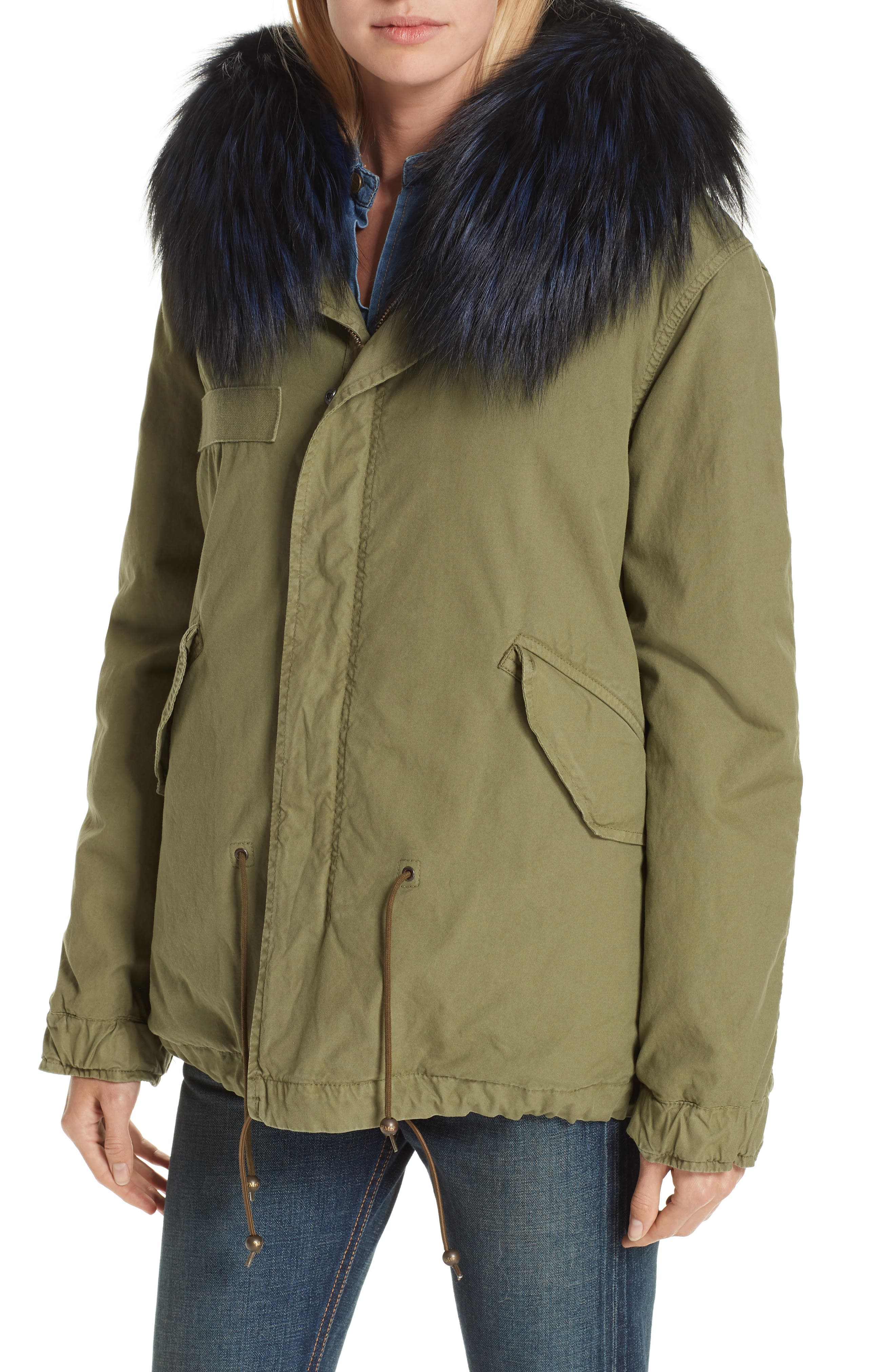 MR & MRS ITALY, Genuine Fox Fur Trim and Coyote Fur Lining Parka, Alternate thumbnail 5, color, BLUE FRANCE