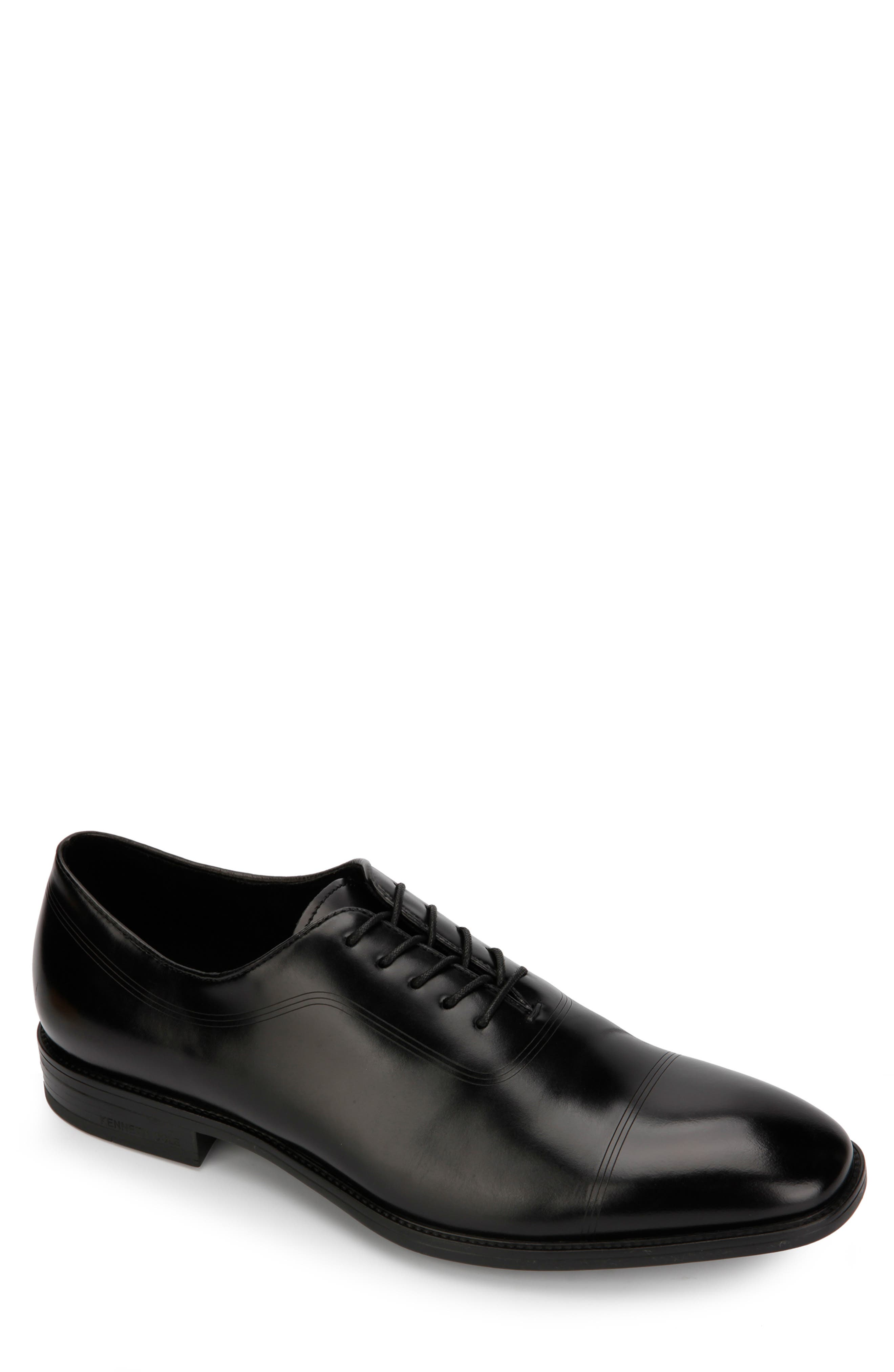 KENNETH COLE NEW YORK, Ticketpod Cap Toe Oxford, Main thumbnail 1, color, BLACK LEATHER
