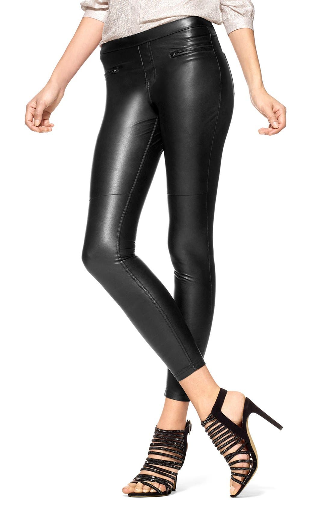 HUE, 'Leatherette Skimmer' Faux Leather Leggings, Main thumbnail 1, color, 001
