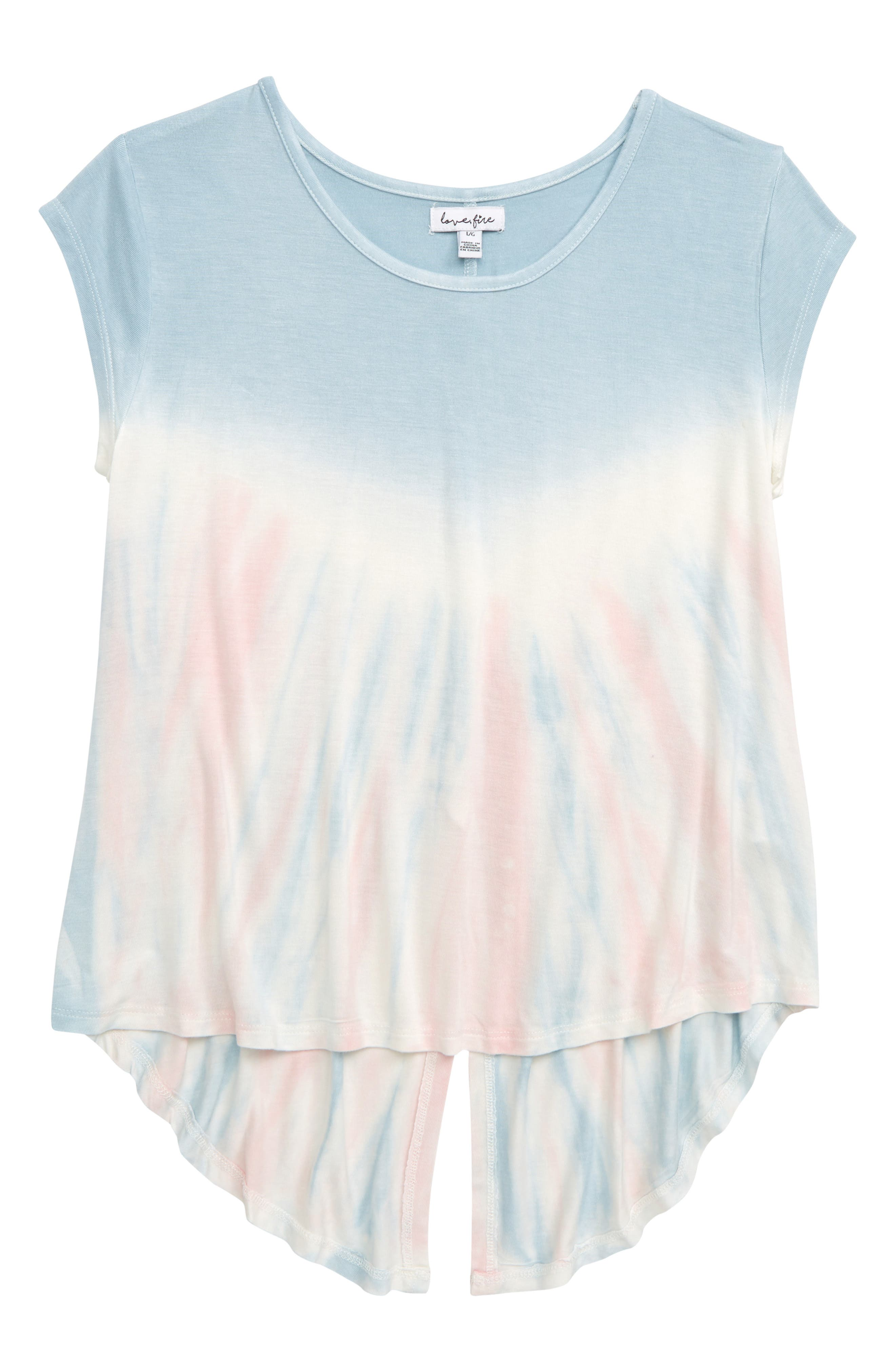 LOVE, FIRE Tie Dye Split Back Tee, Main, color, 400