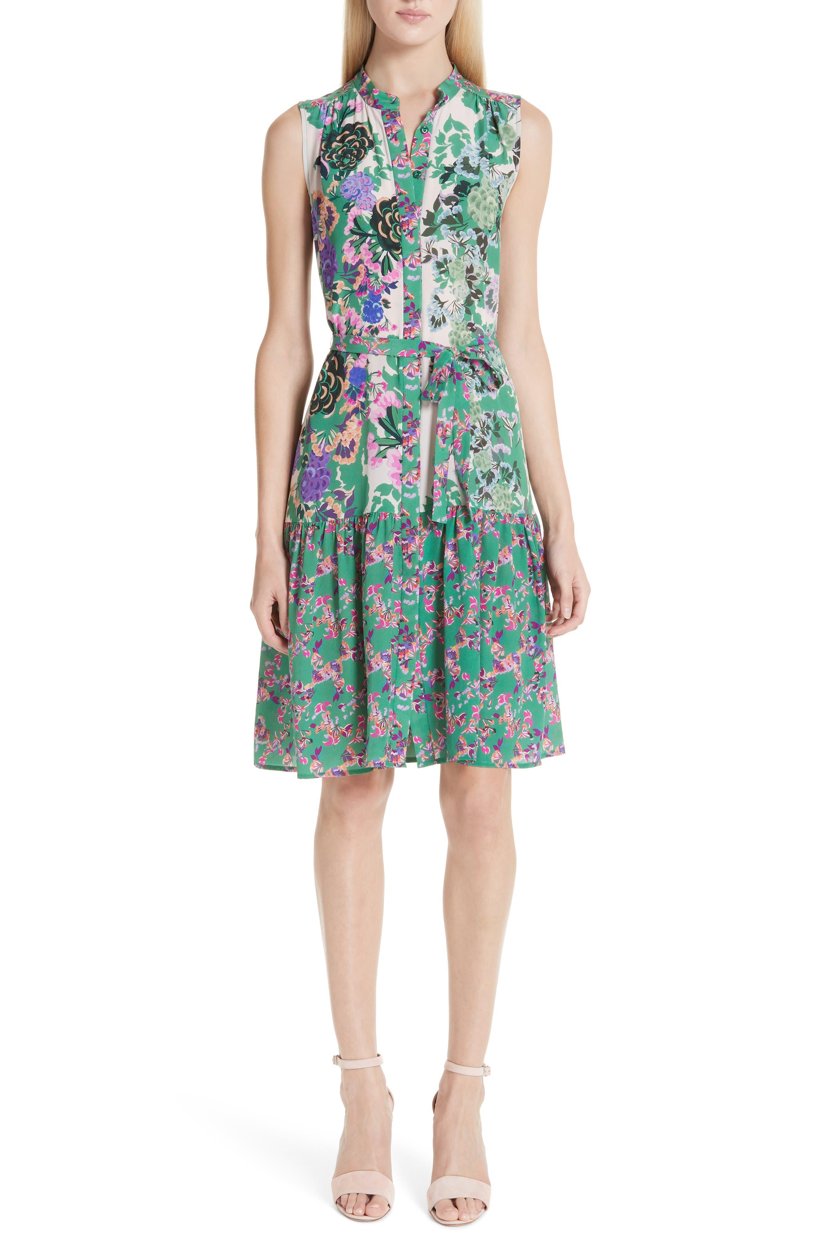 SALONI Tilly Print Silk Dress, Main, color, ROSE MEADOW PLMT
