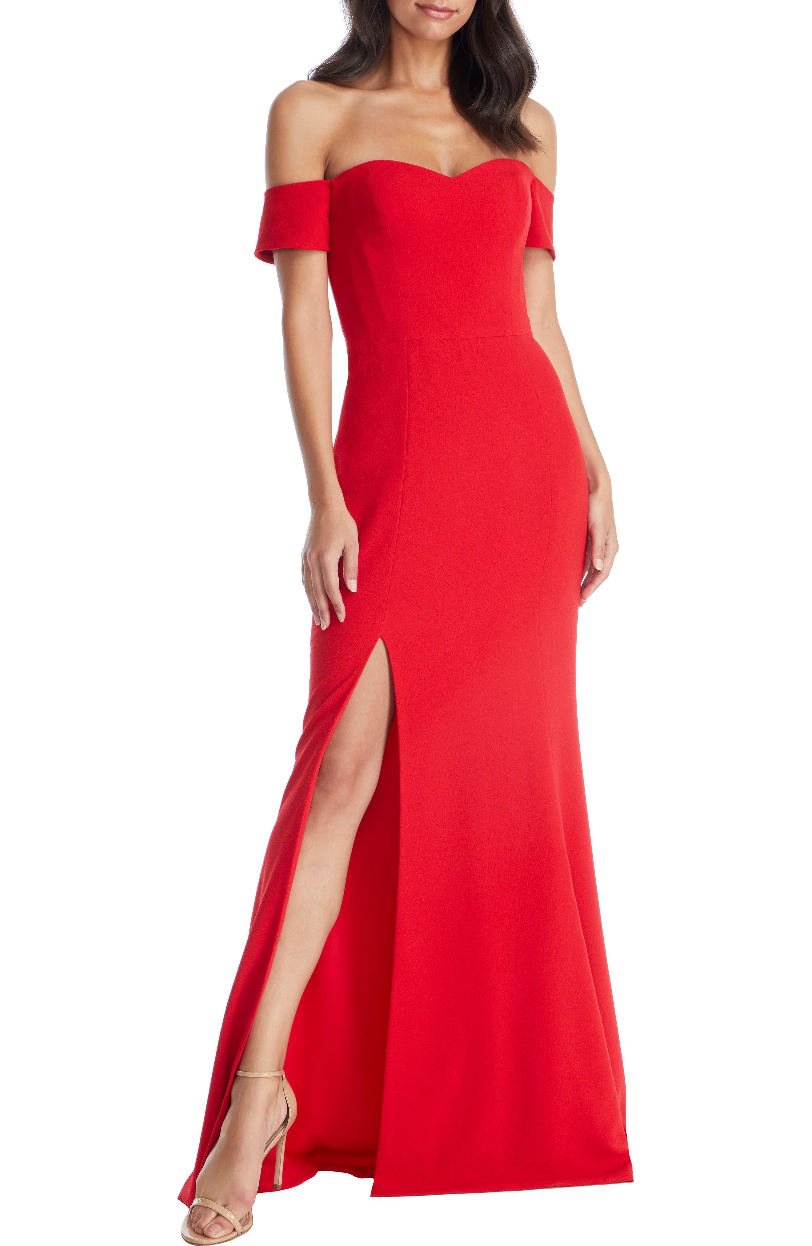Dress The Population Logan Off The Shoulder Evening Dress, Red